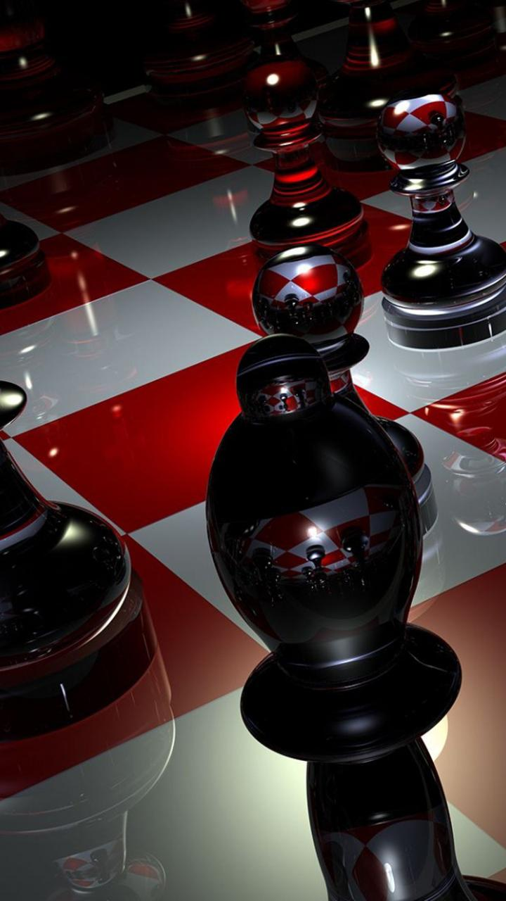 3d Chess Board With Pieces
