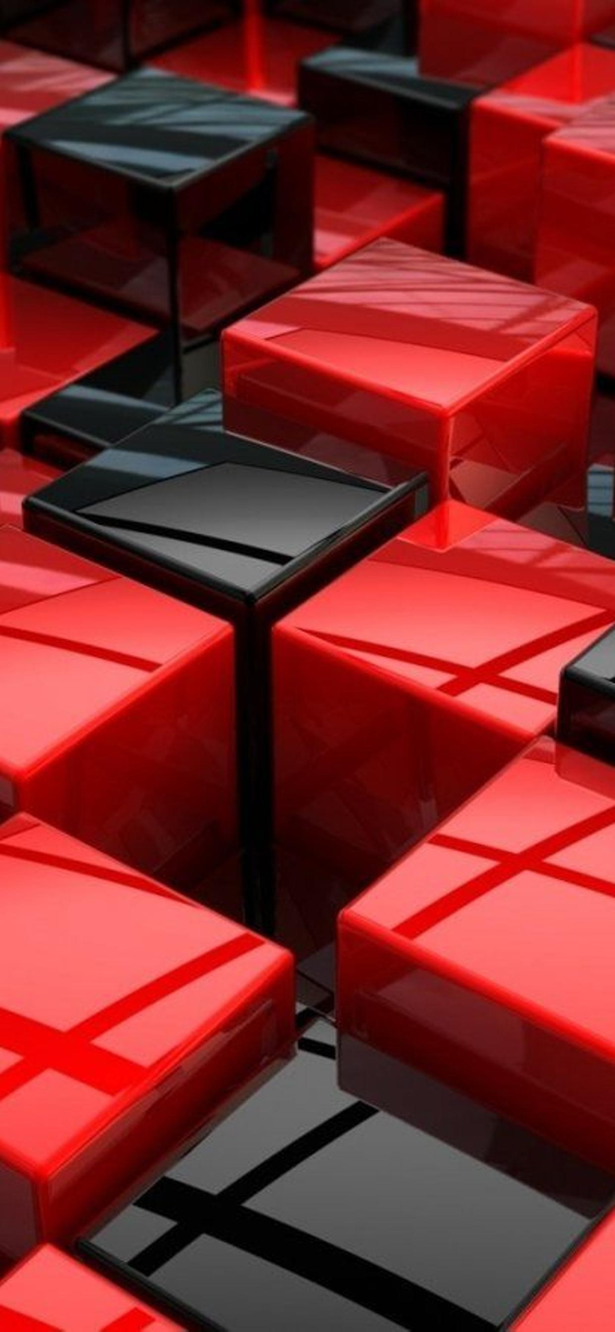 Black And Red 3d Boxes On The Wall Hd Wallpaper