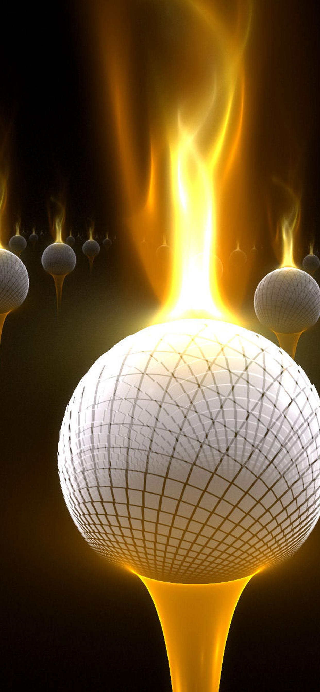 Abstract Golf Balls With Flames