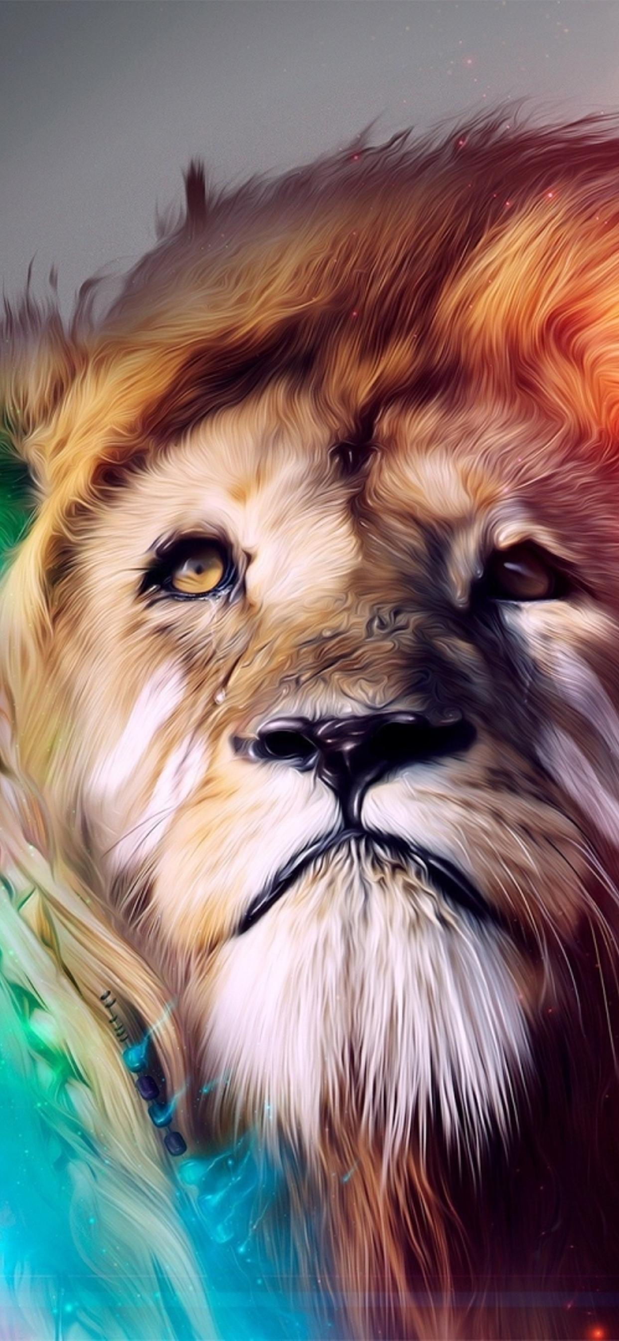 Abstract Rainbow Lion Creative Wallpaper