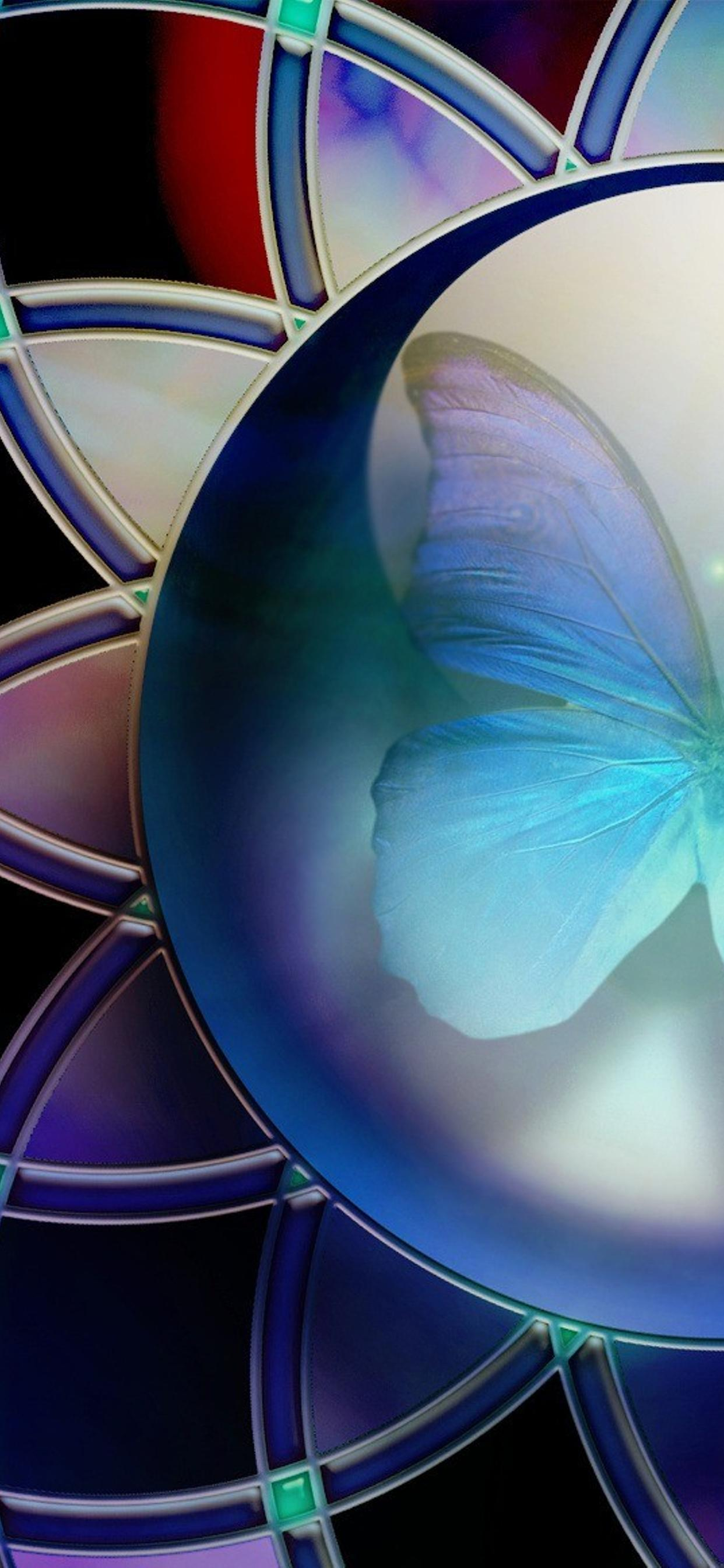 Blue Butterfly In A Circle Beautiful Artistic Wallpaper