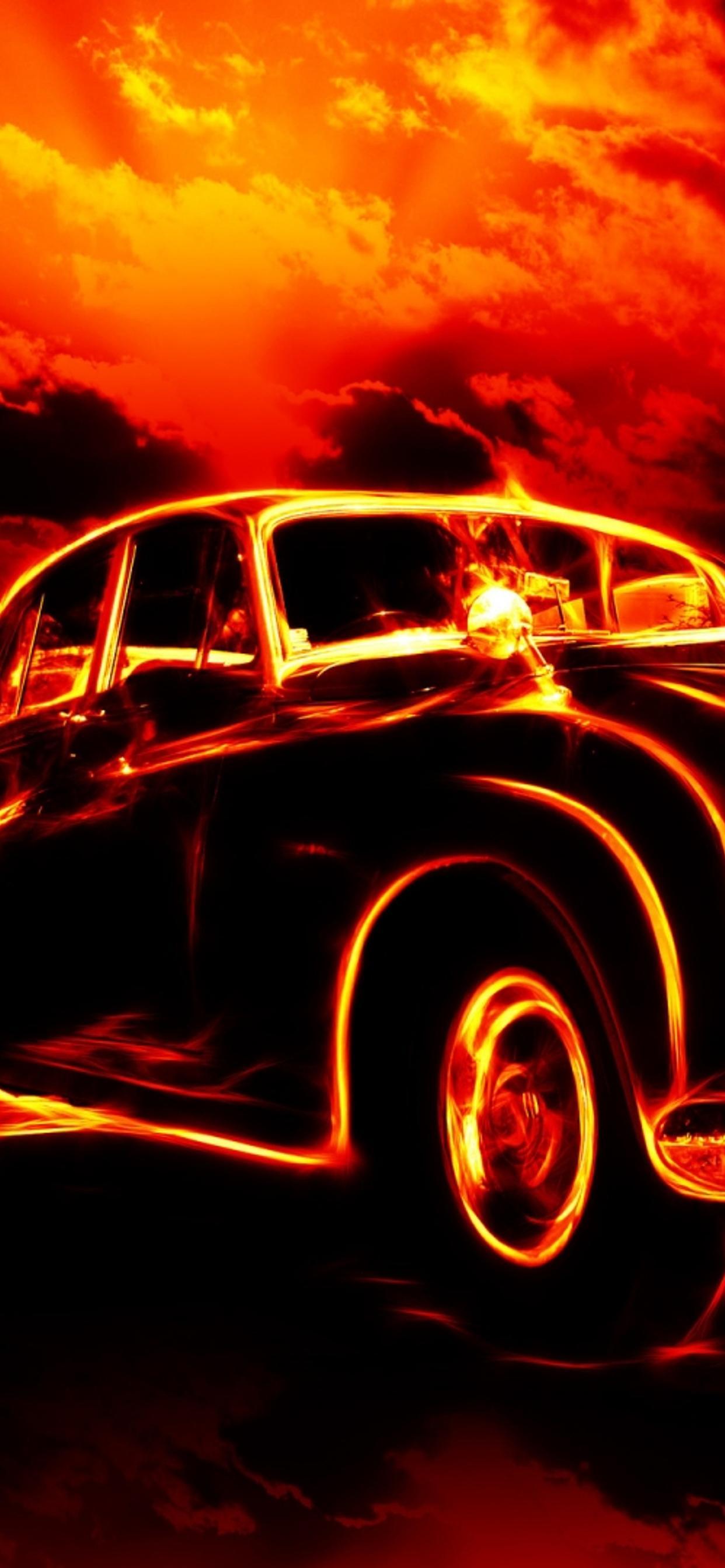 Vintage Car In Flames Dark Wallpaper