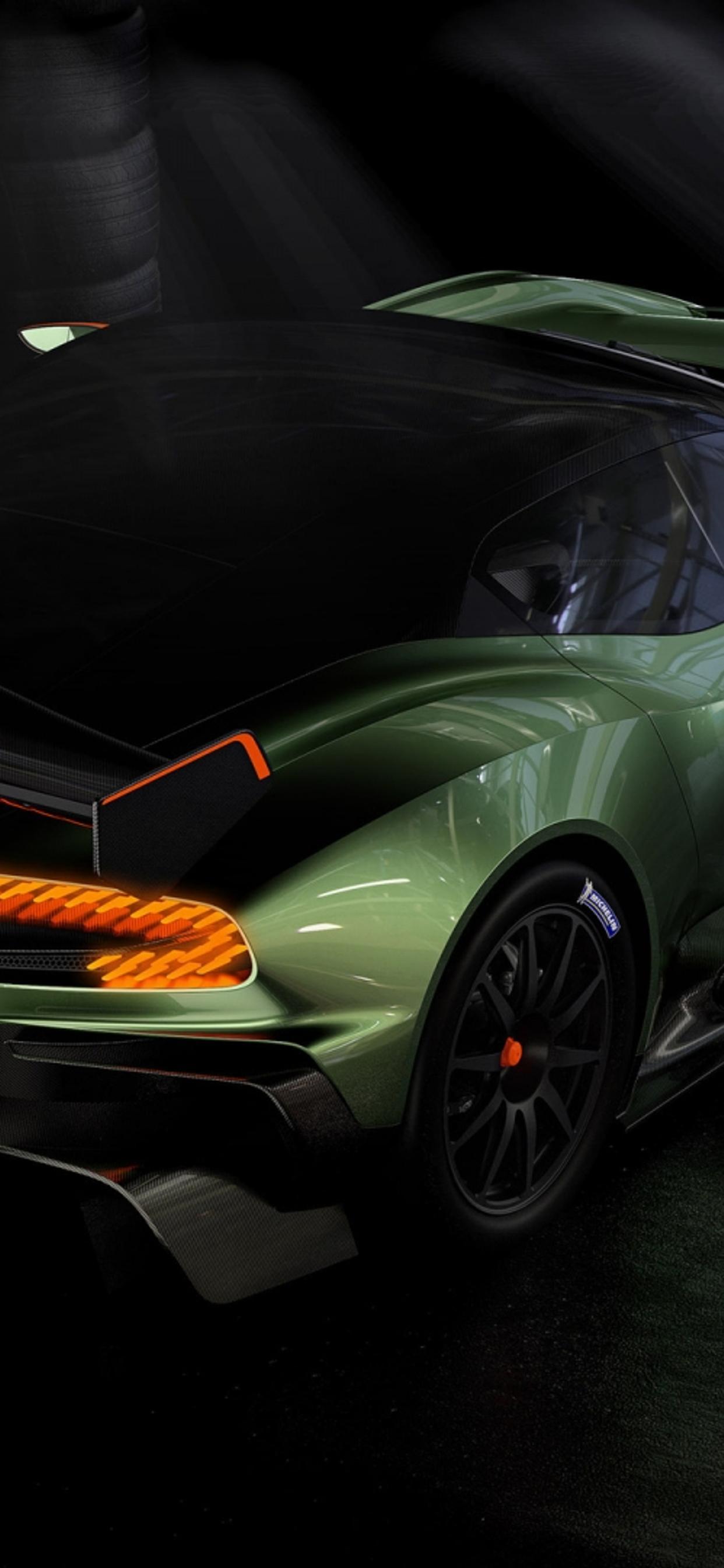 Green Aston Martin Vulcan Top Sport Car