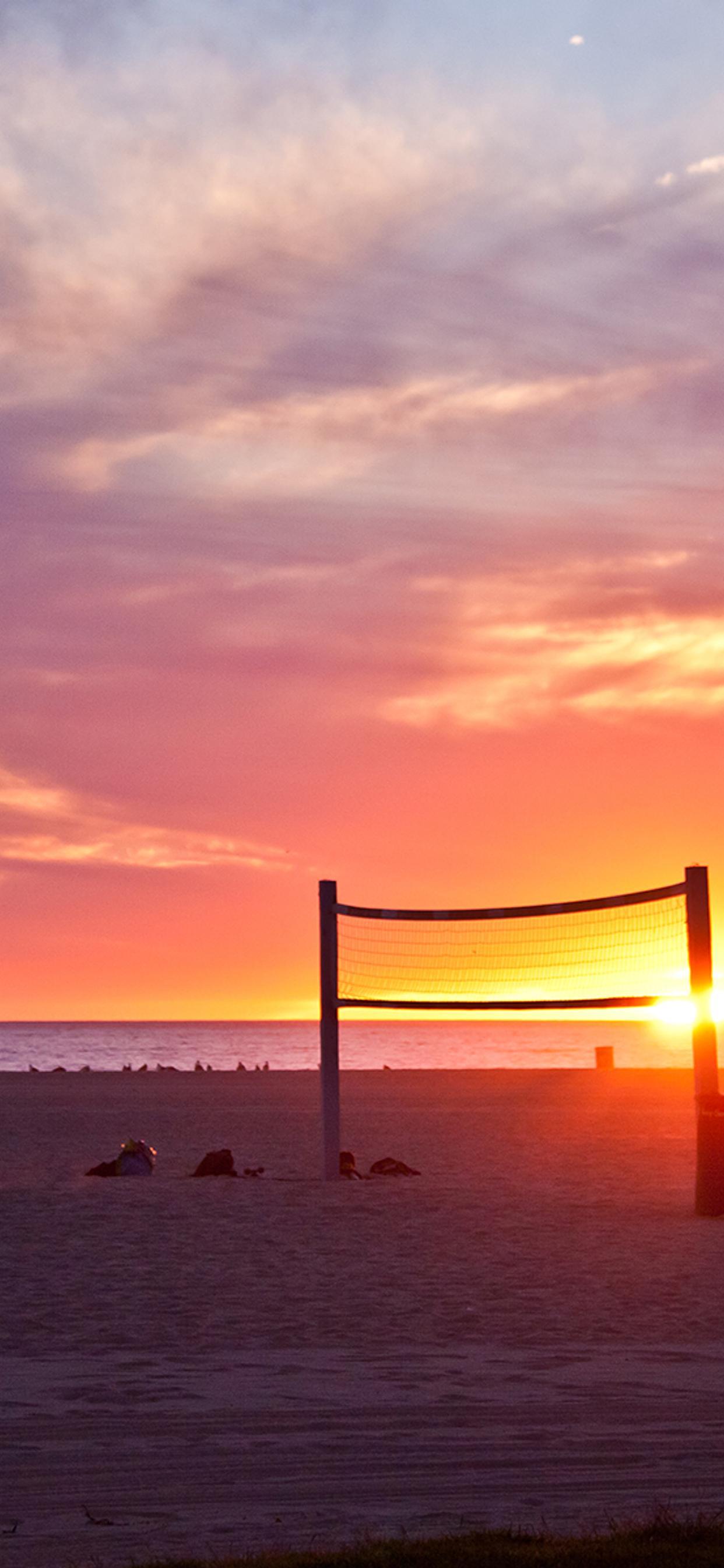 Volleyball On Beach Sunset