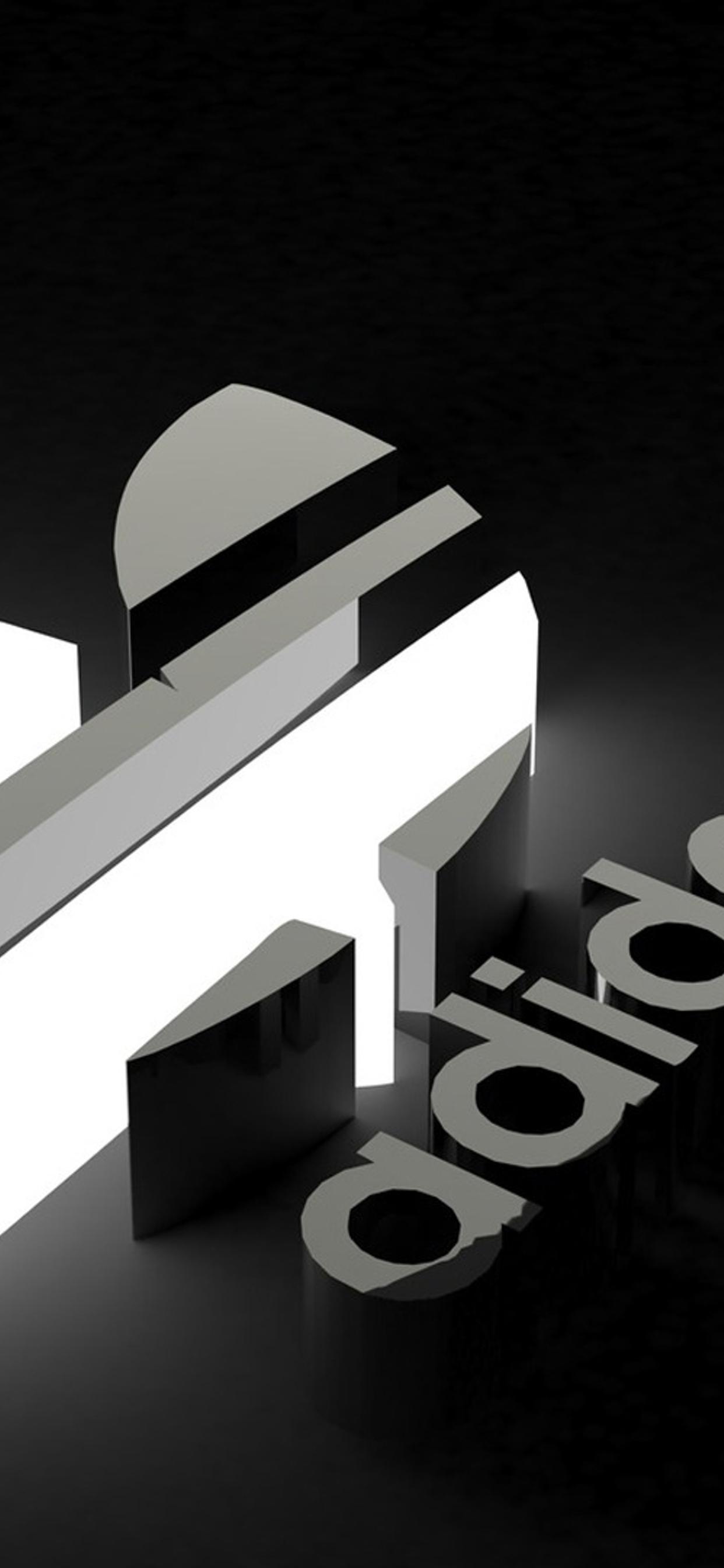 Adidas Logo Black And White 3d Wallpaper