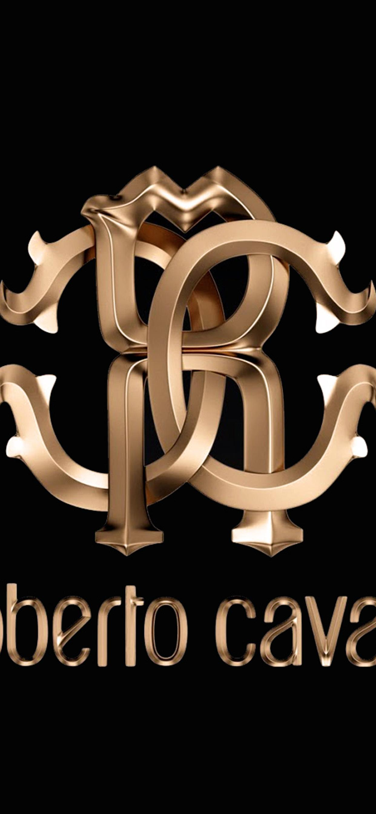 Luxury Roberto Cavalli Brand Gold Logo On The Wallpaper