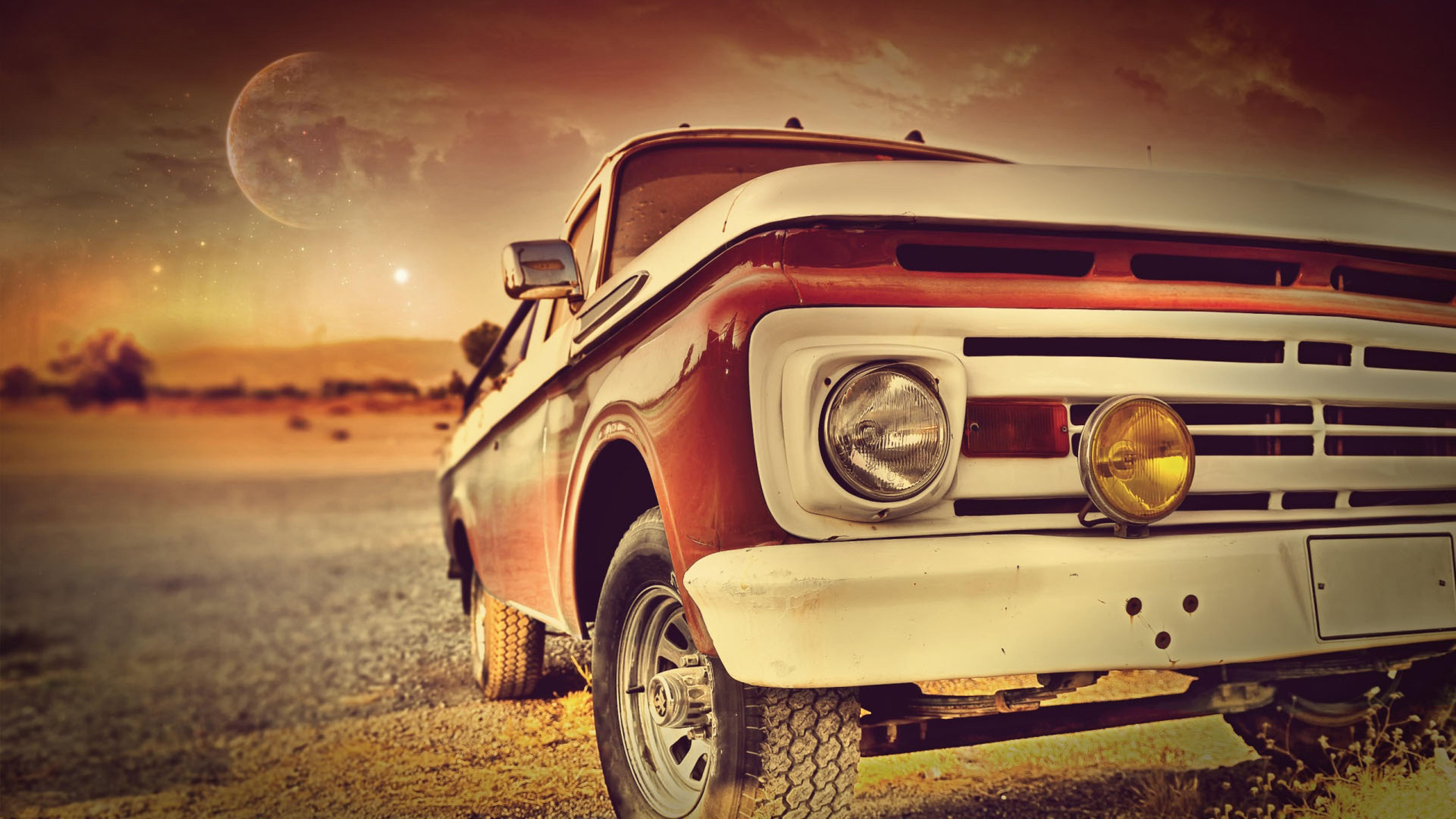 Vintage Red Car In The Sunset Hd Wallpaper Old Car