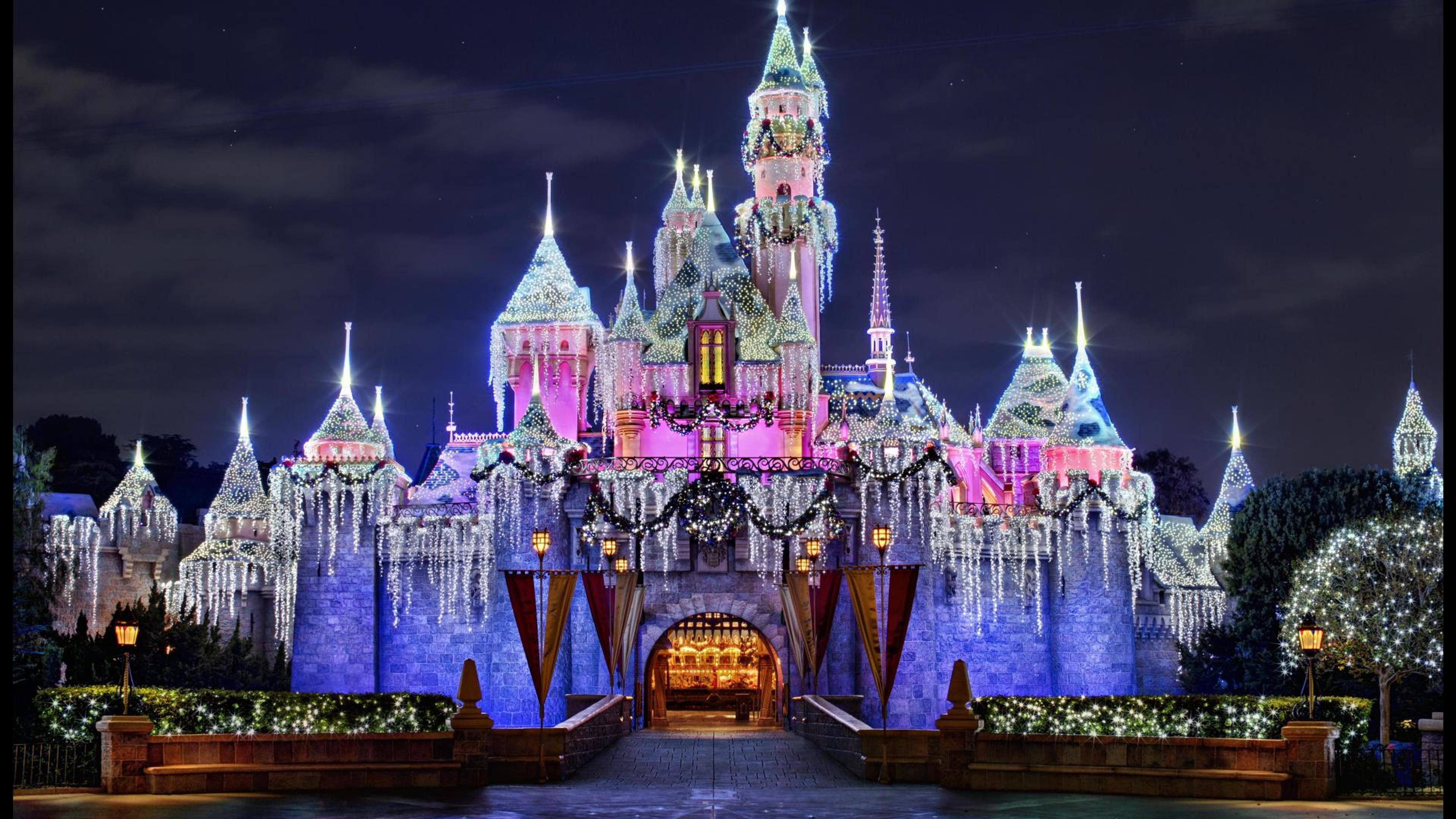 Disneyland Paris In Winter Spirit Hd Wallpaper