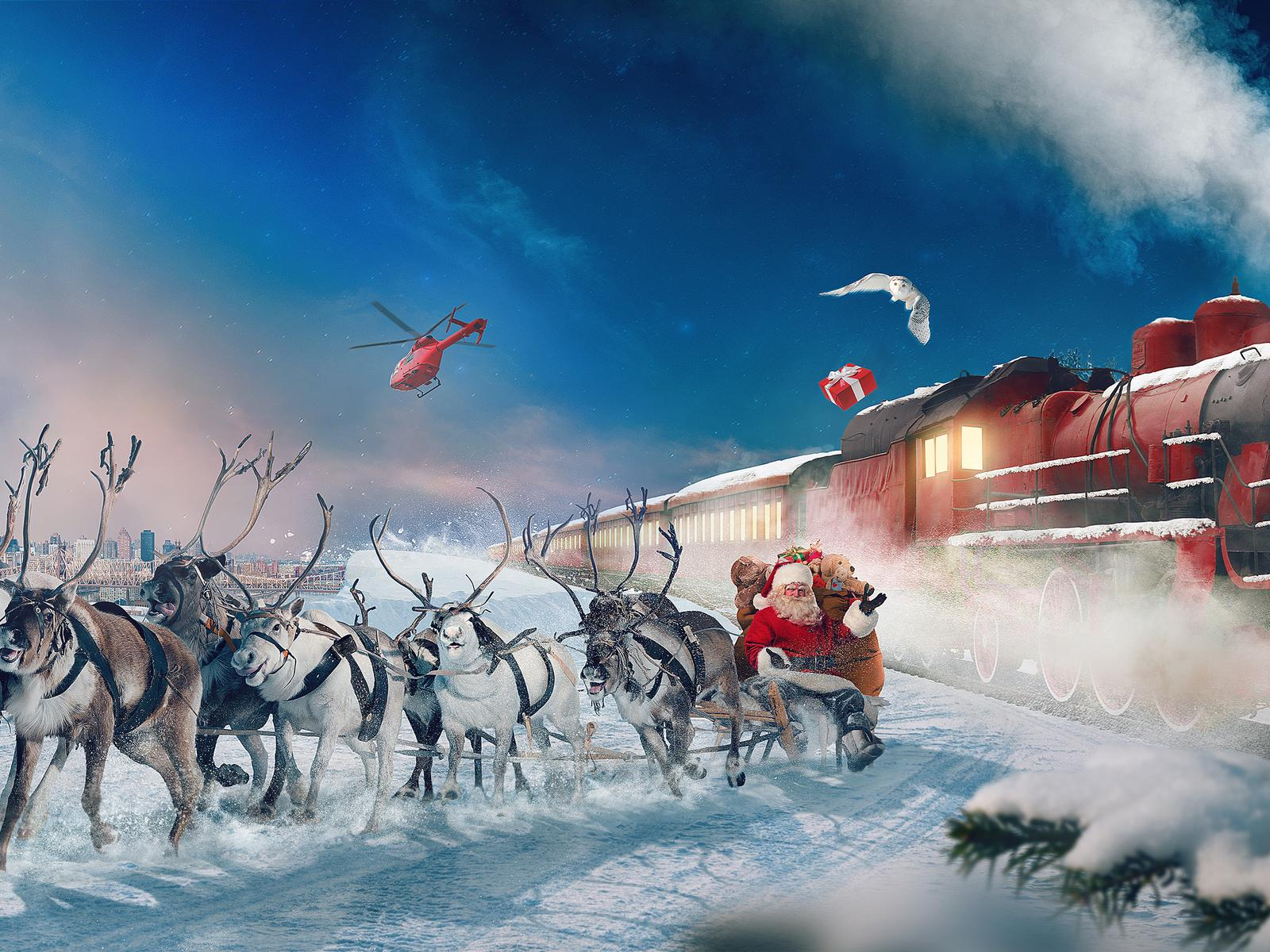Santa Claus And Reindeers Travel With Train Gift Night