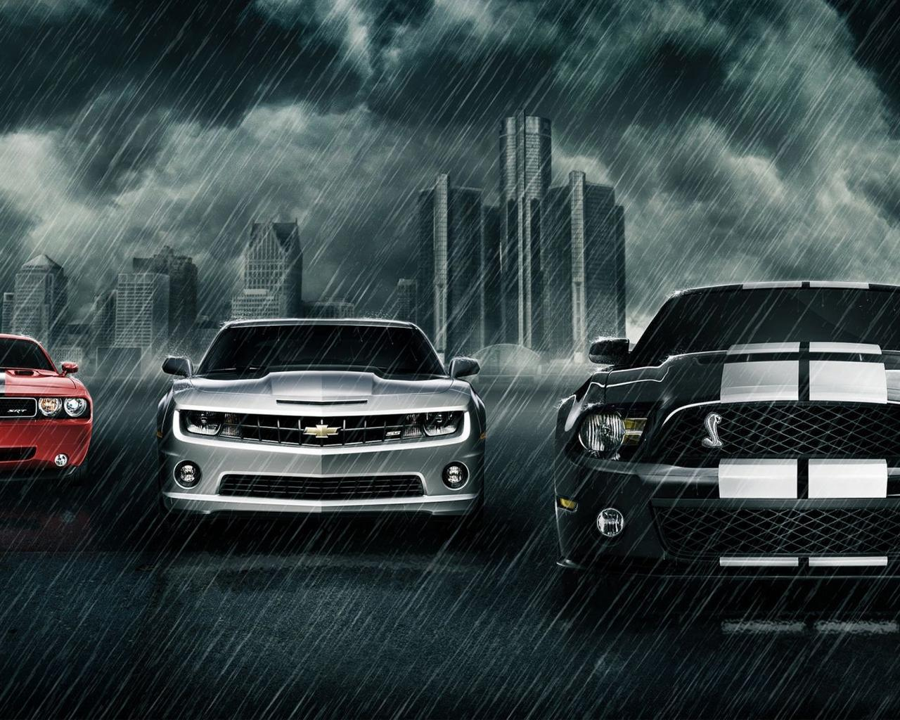 Three Wonderful Cars In The Rain Creative Wallpaper