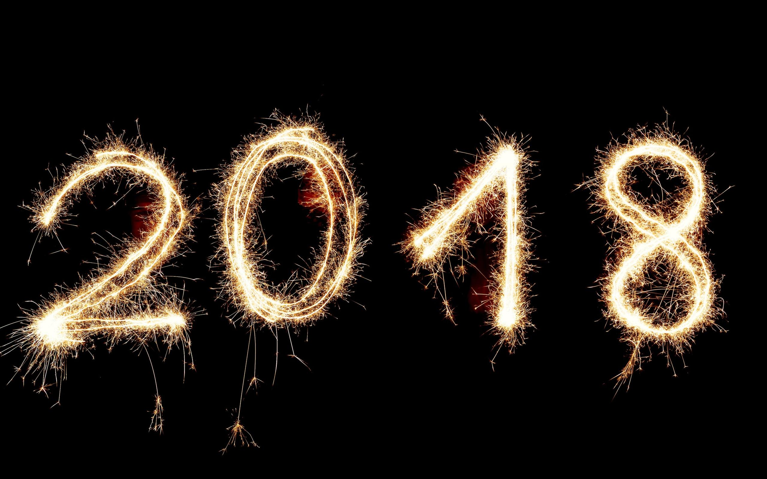2018 made from fireworks happy new year wallpaper download 2560x1600