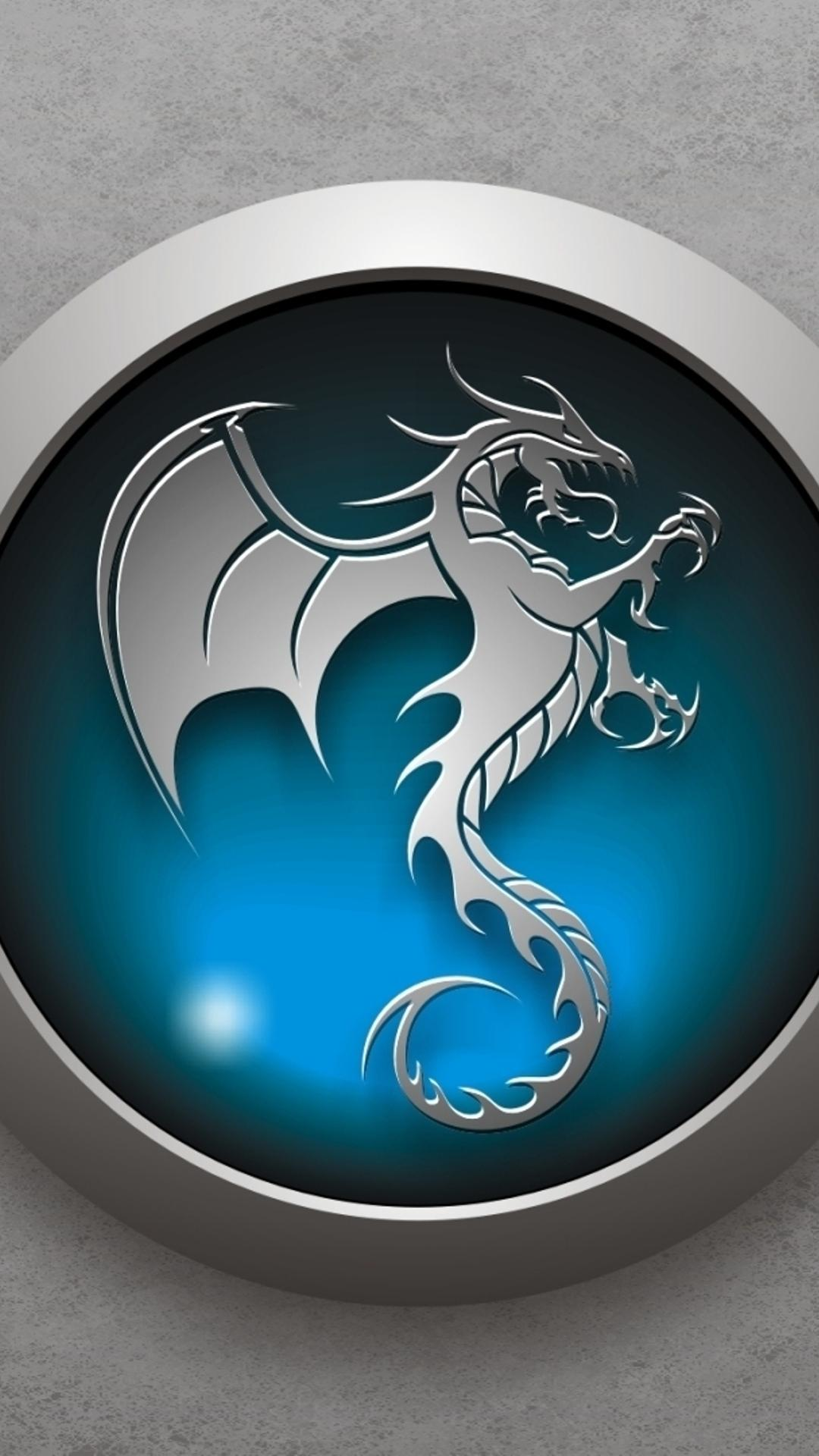 3D Blue Dragon Logo On The Gray Wall Wallpaper Download 1080x1920