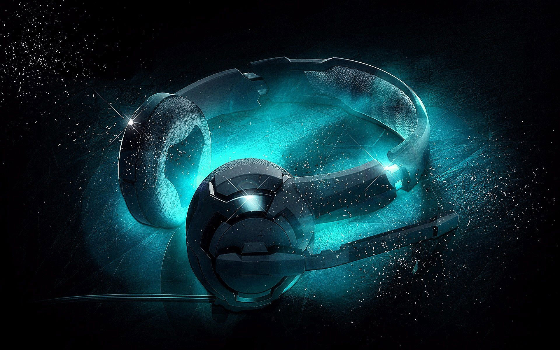 3d Headphones Wallpaper Fluorescent Blue Light