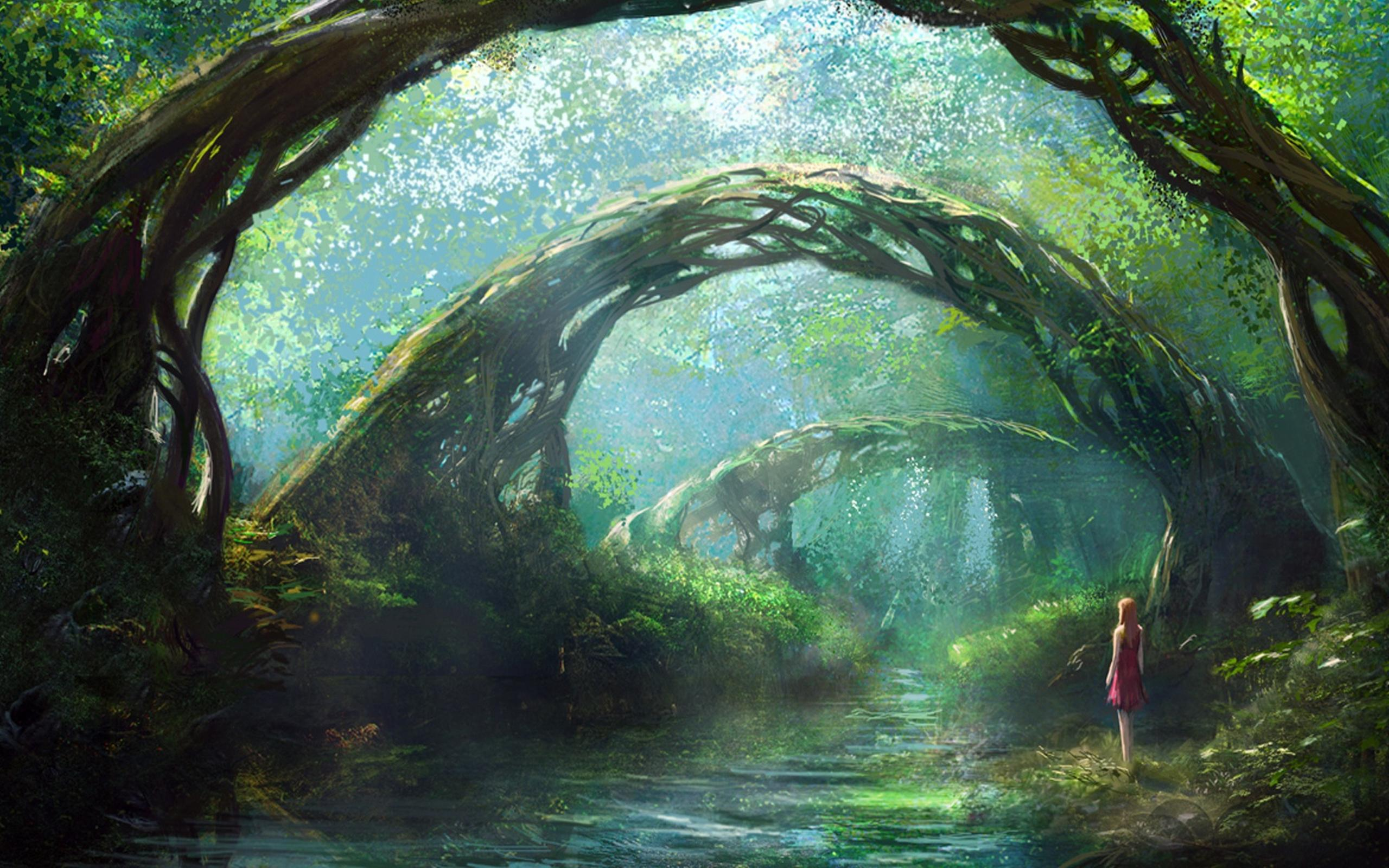 a girl in fantasy forest - hd wallpaper wallpaper download 2560x1600