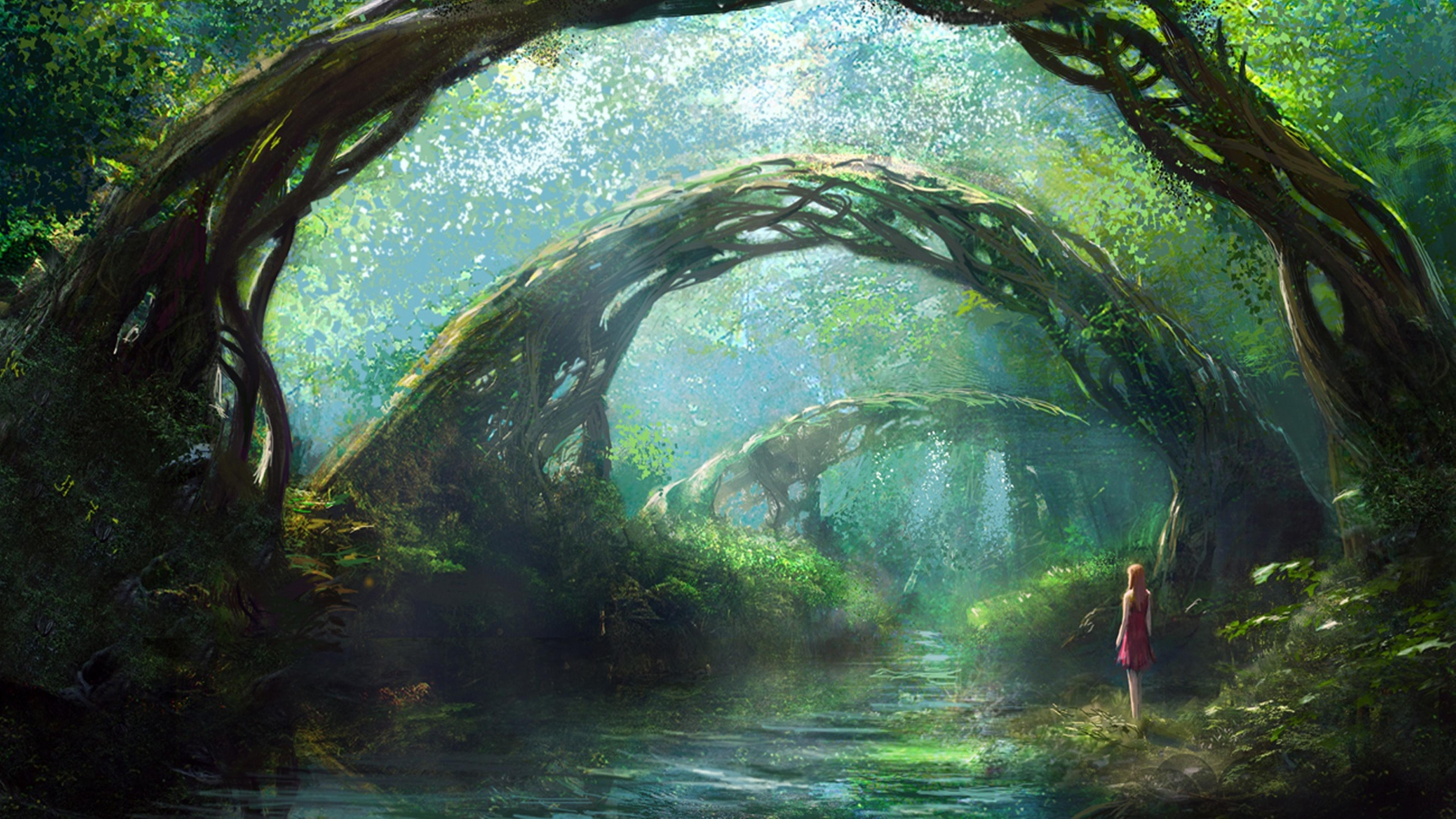 A Girl In Fantasy Forest Hd Wallpaper Wallpaper Download