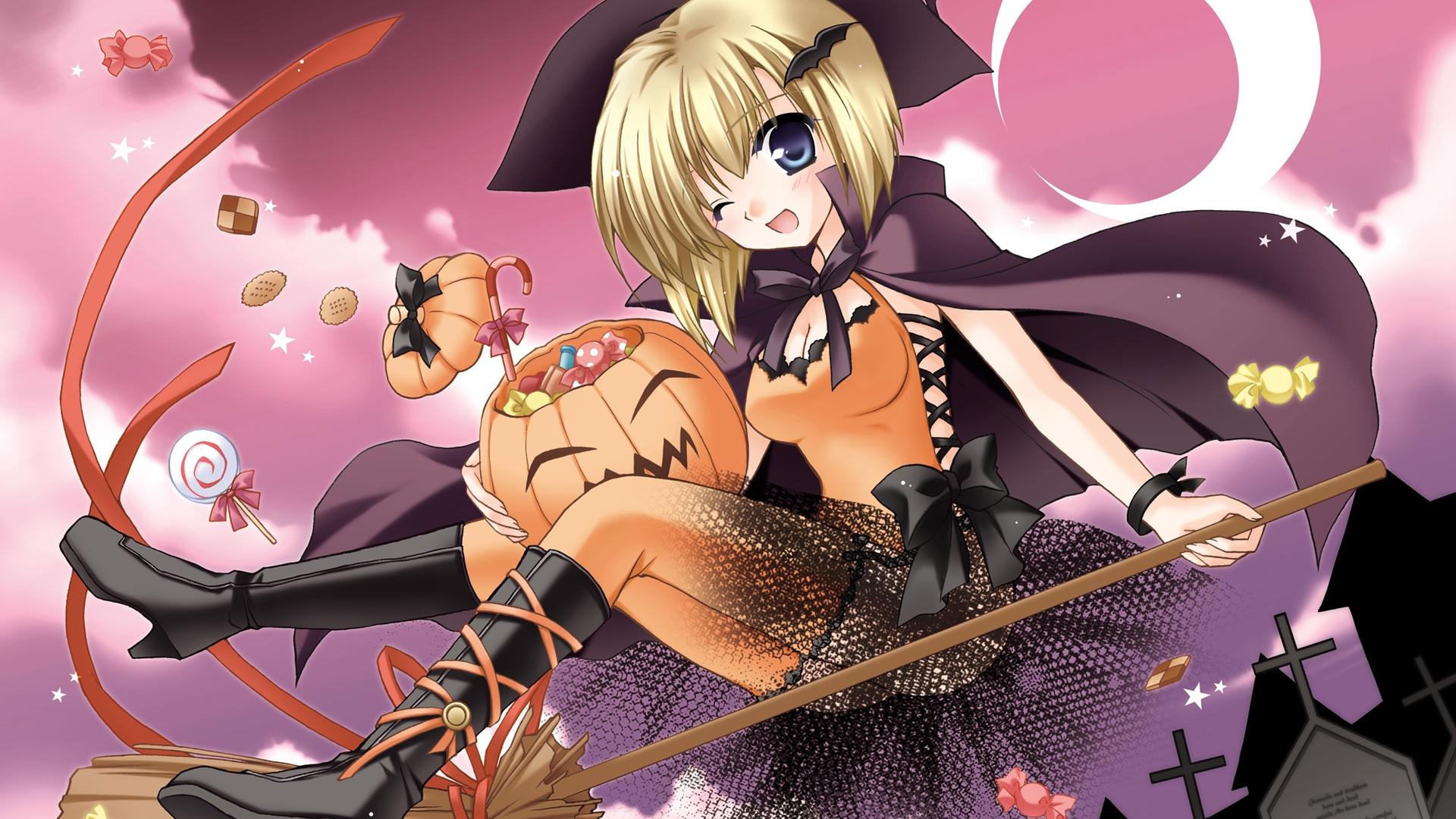 A girl witch on a broom - Halloween anime wallpaper ...