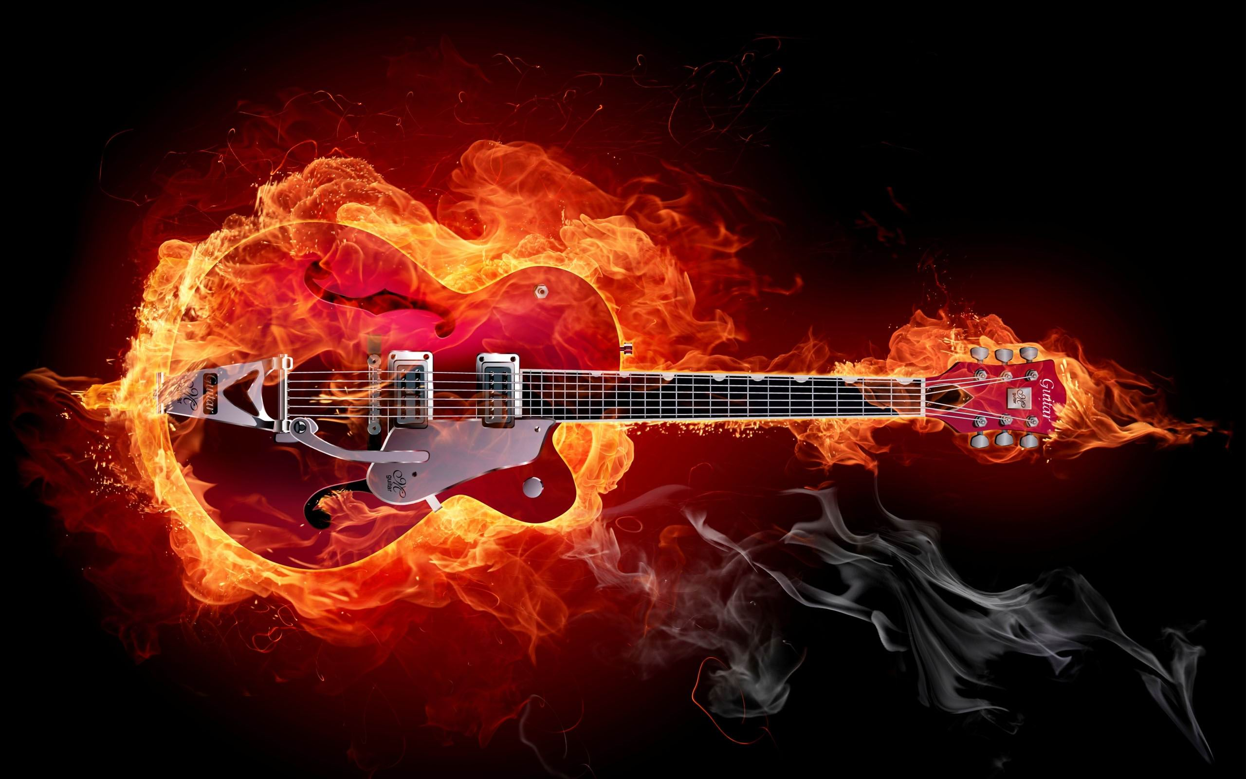 A Guitar In Flames Rock Music Guitar