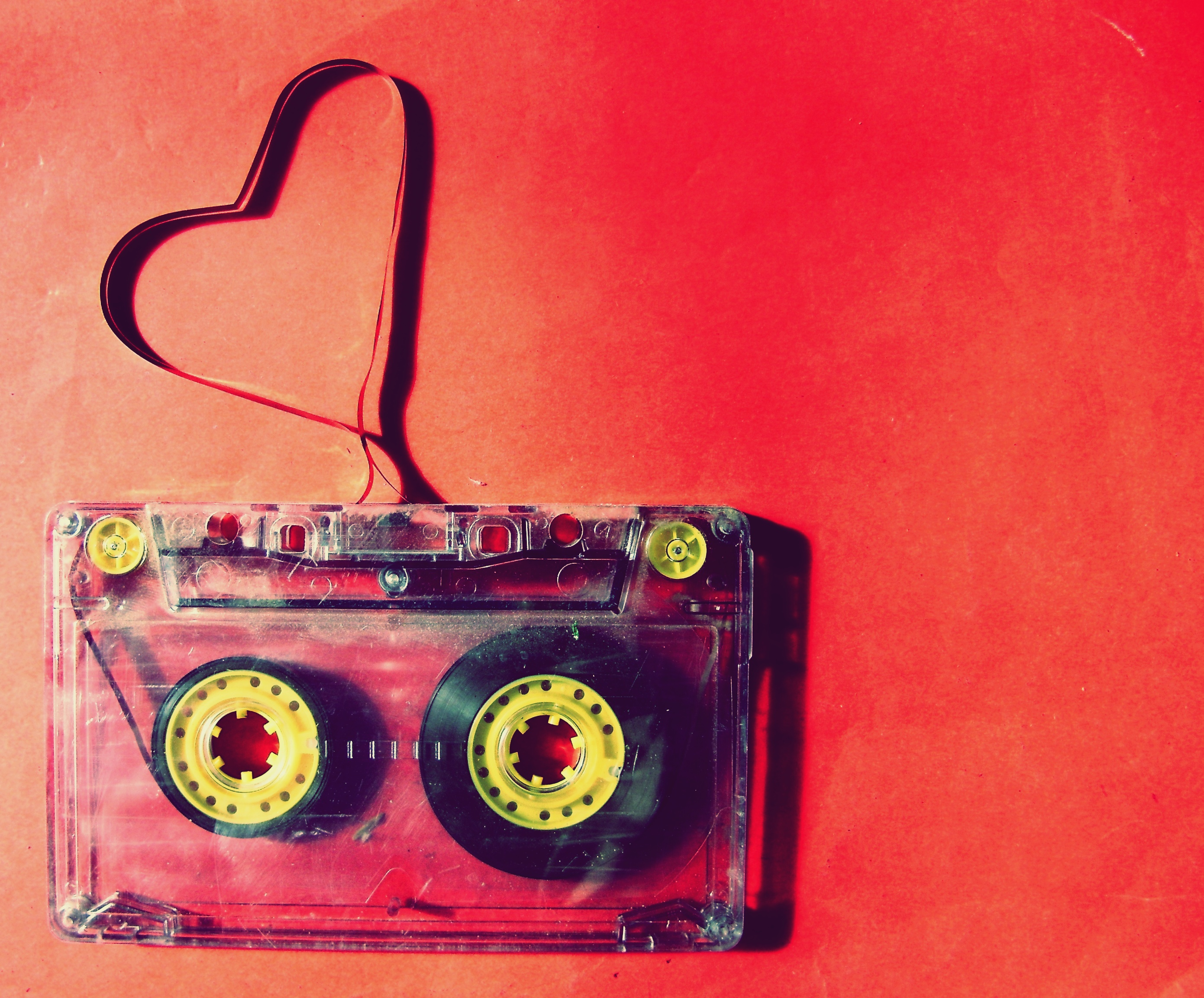 a heart made of band of cassette - love music wallpaper download