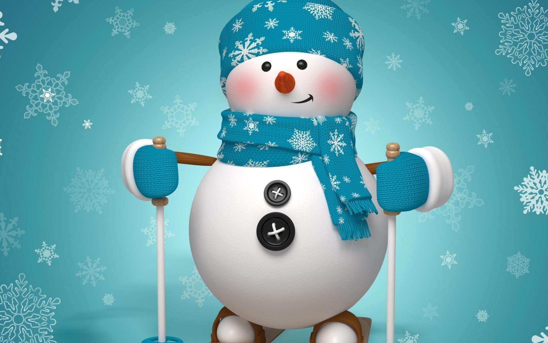 A snowman ready to ski - Funny wallpaper Wallpaper Download 1920x1200 3eb5c416daa