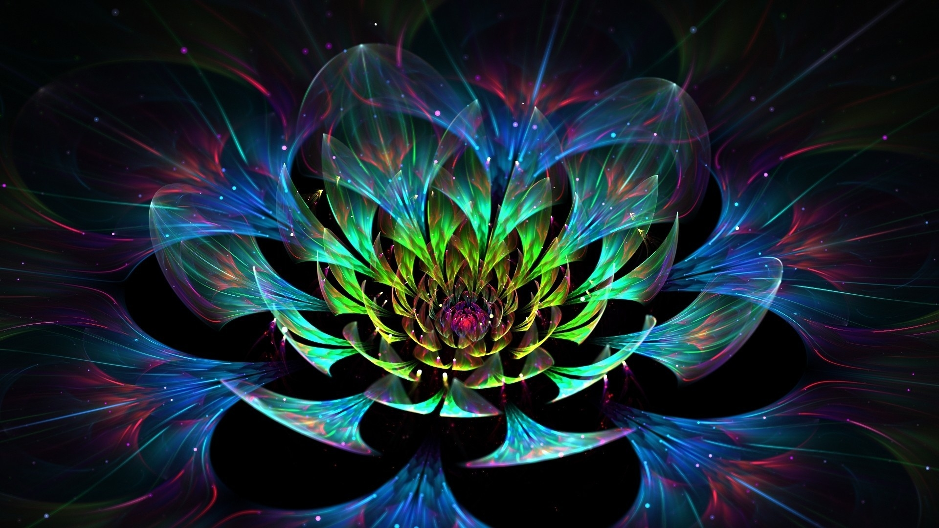 Abstract Colorful Lotus 3D Flower
