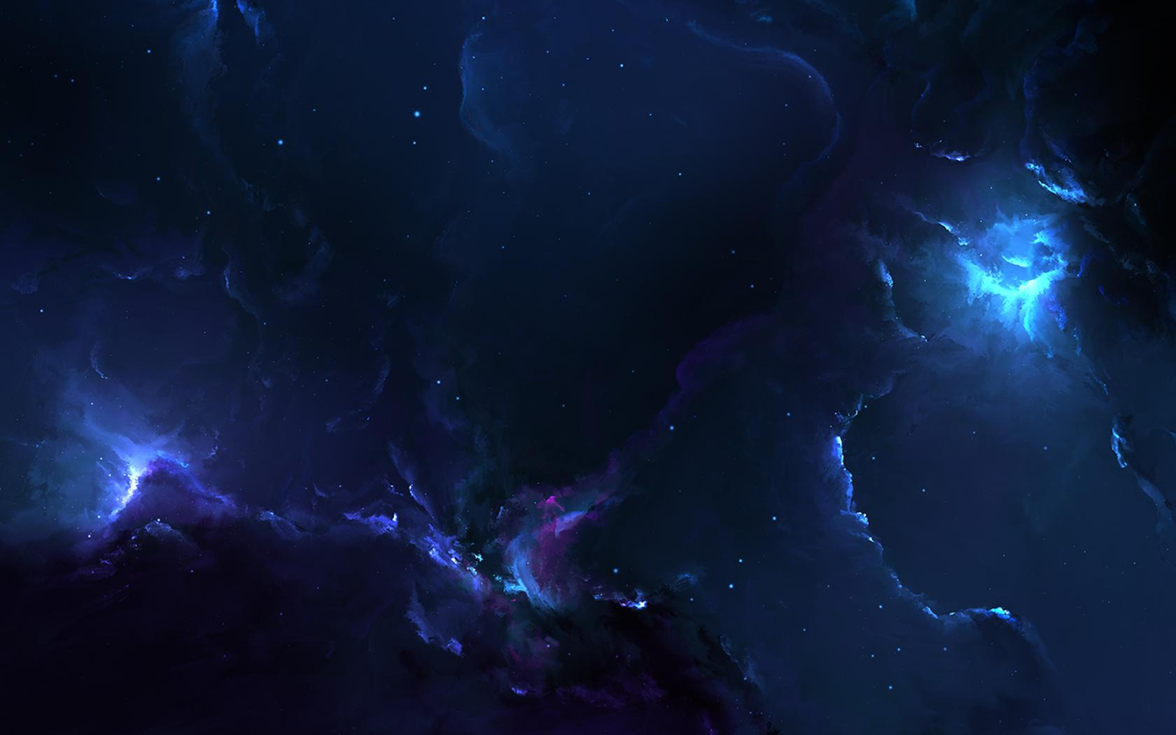 Abstract Dark Sky With Blue Light
