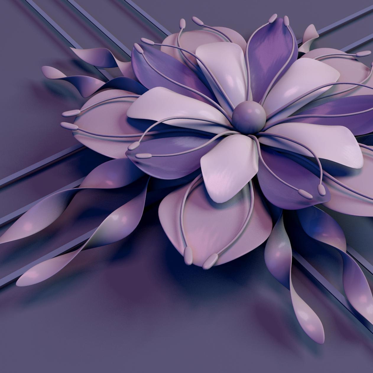 Download Wallpaper 1262x1262 Abstract flower - Beautiful purple 3D flower