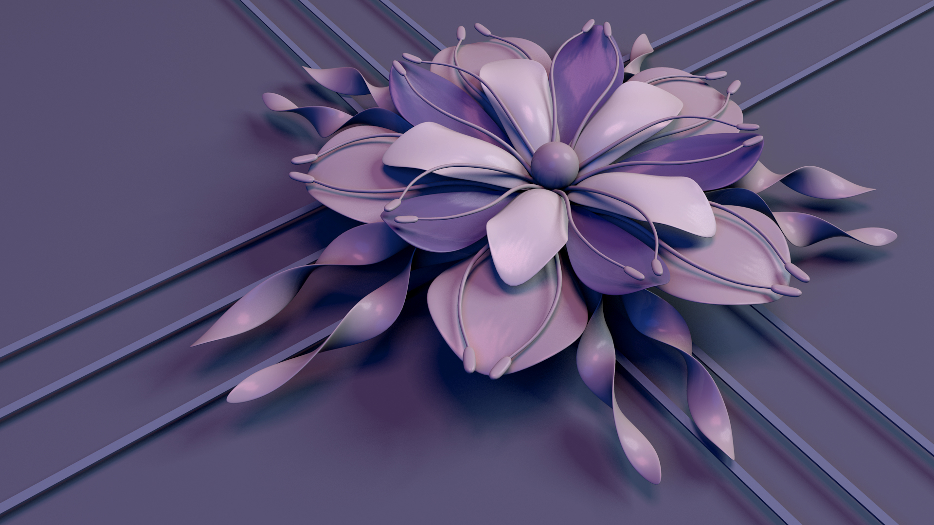 abstract flower beautiful purple 3d flower