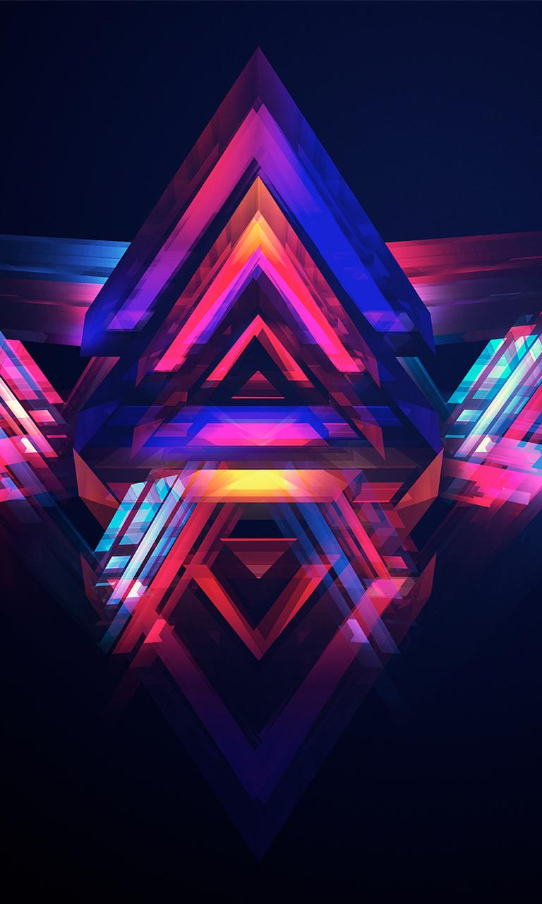 abstract multiple colored pyramids wallpaper download 768x1280