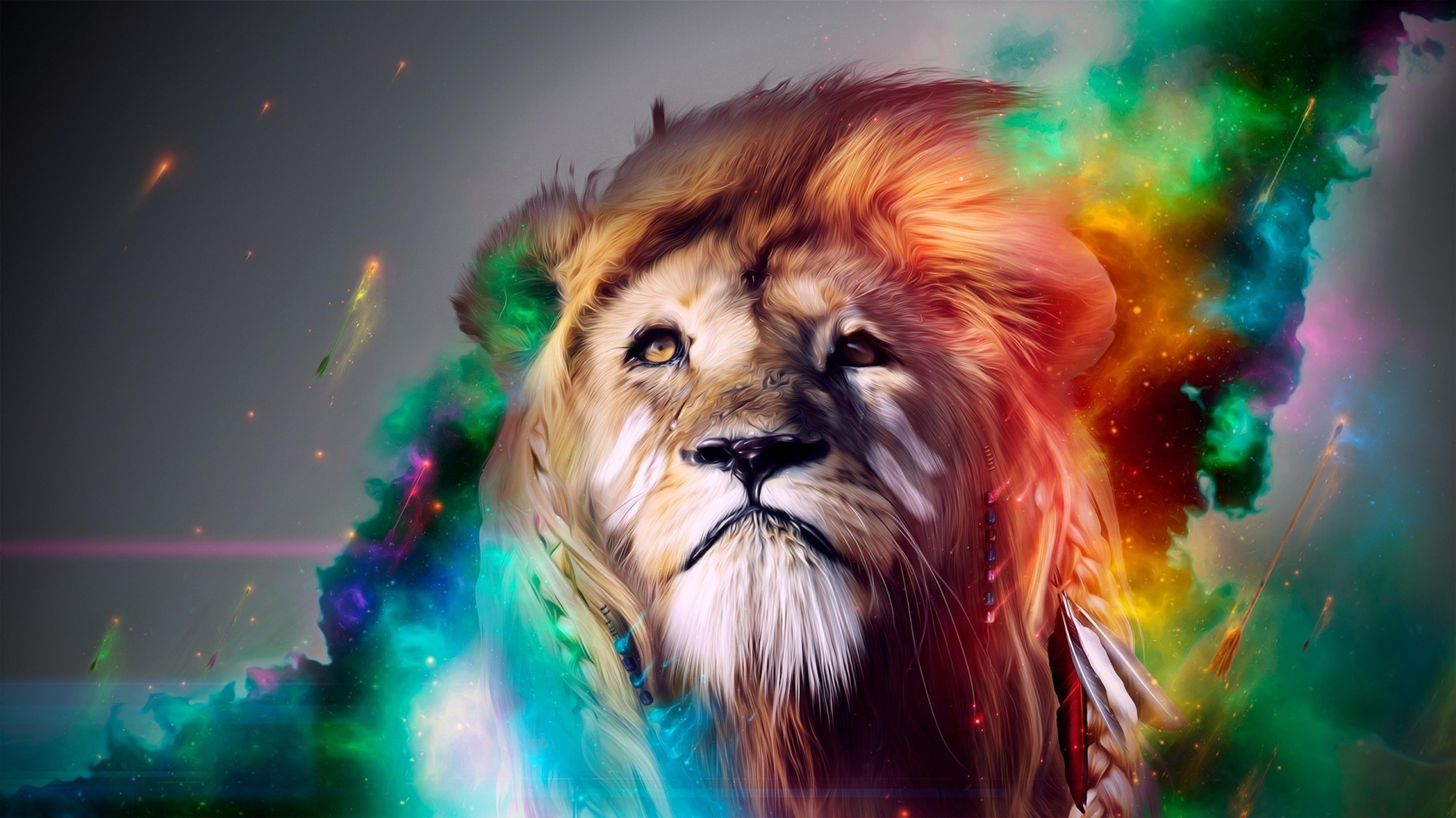 Abstract Rainbow Lion