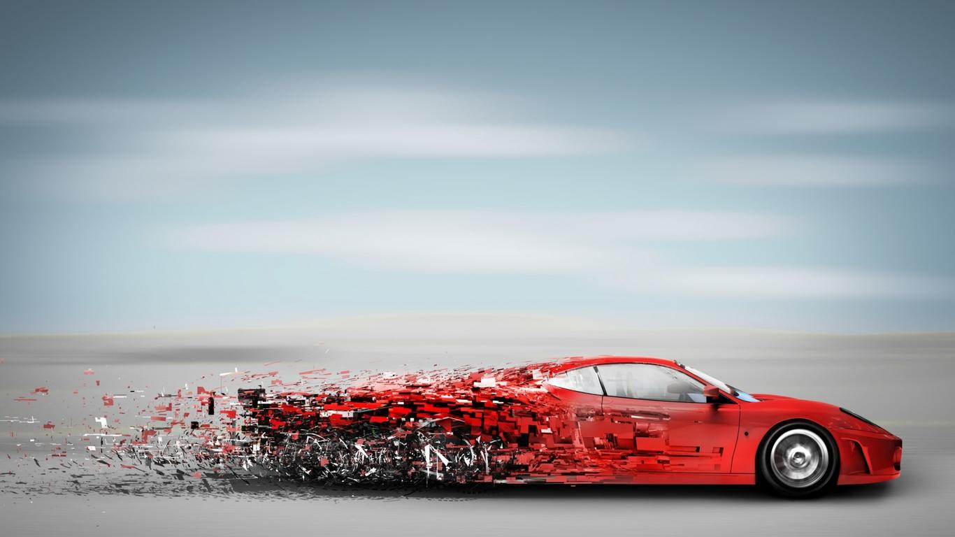 Nice Abstract Red Speedy Car   Sport Car Wallpaper Wallpaper Download 1366x768