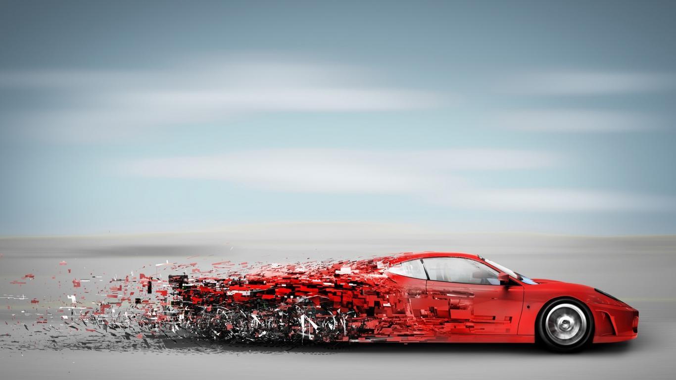 Abstract Red Speedy Car   Sport Car Wallpaper Wallpaper Download 1366x768