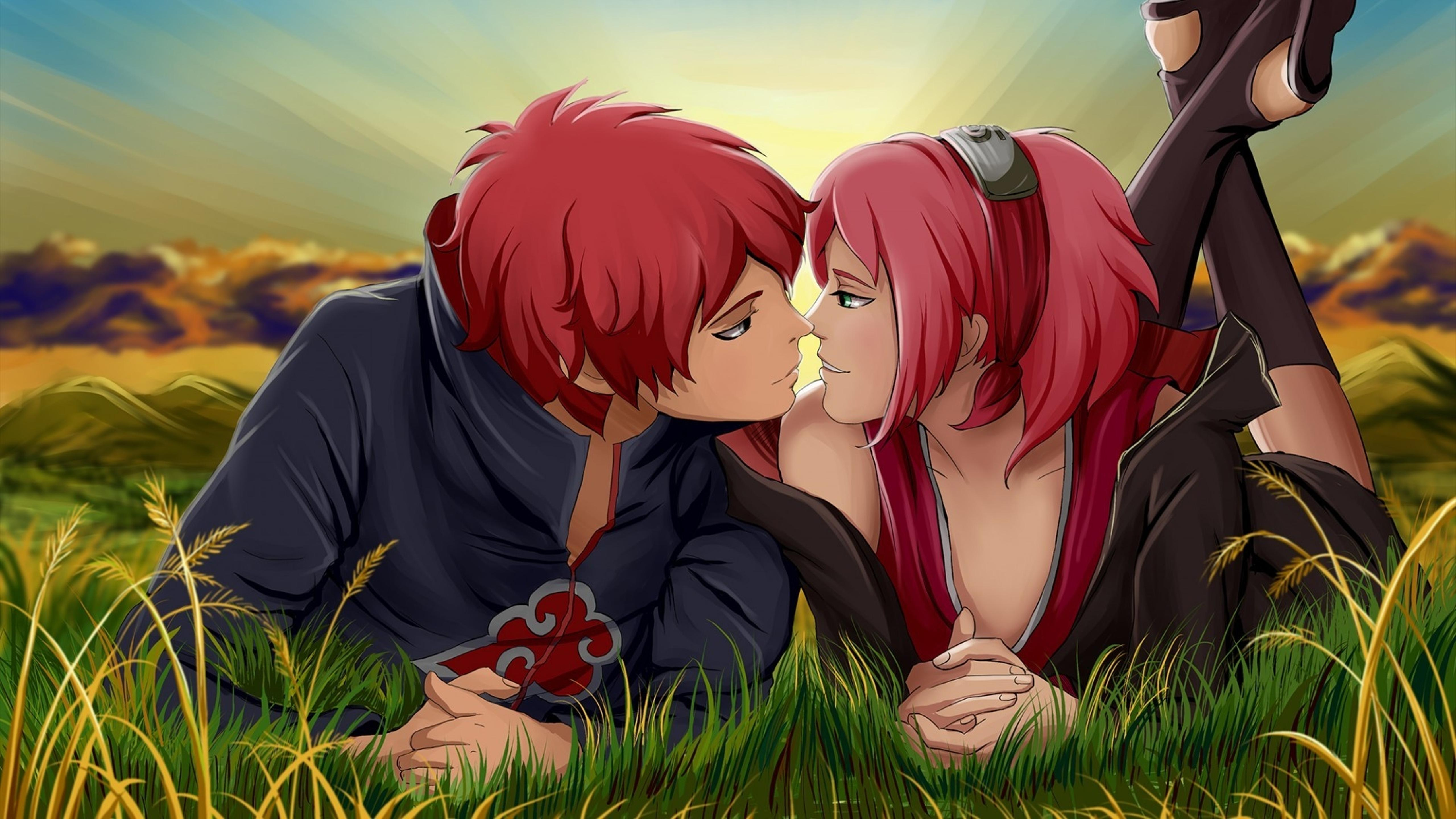 An Anime Couple With Red Hair Kissing In The Grass