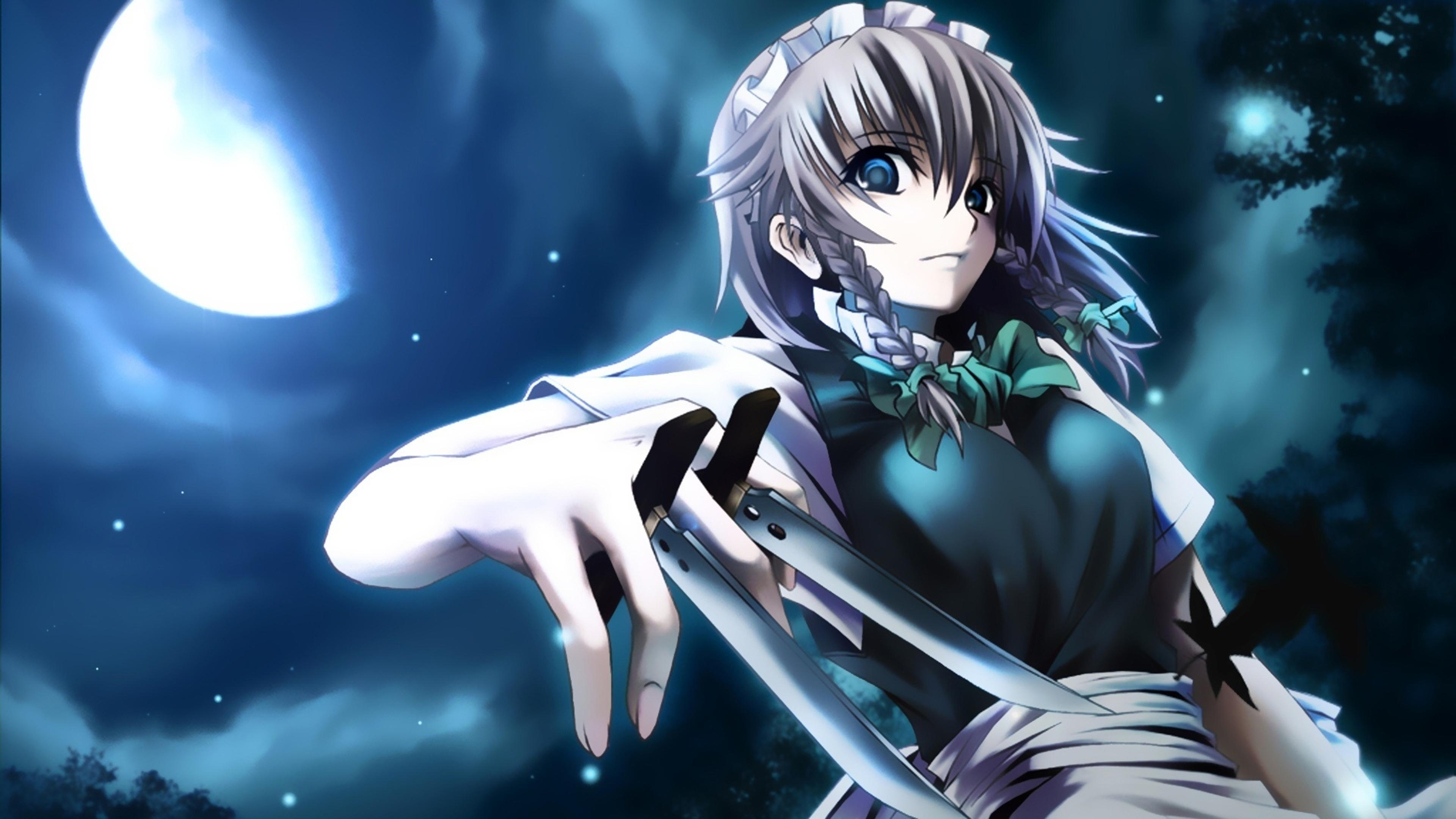 an anime girl with hidden finger blades wallpaper download 3840x2160