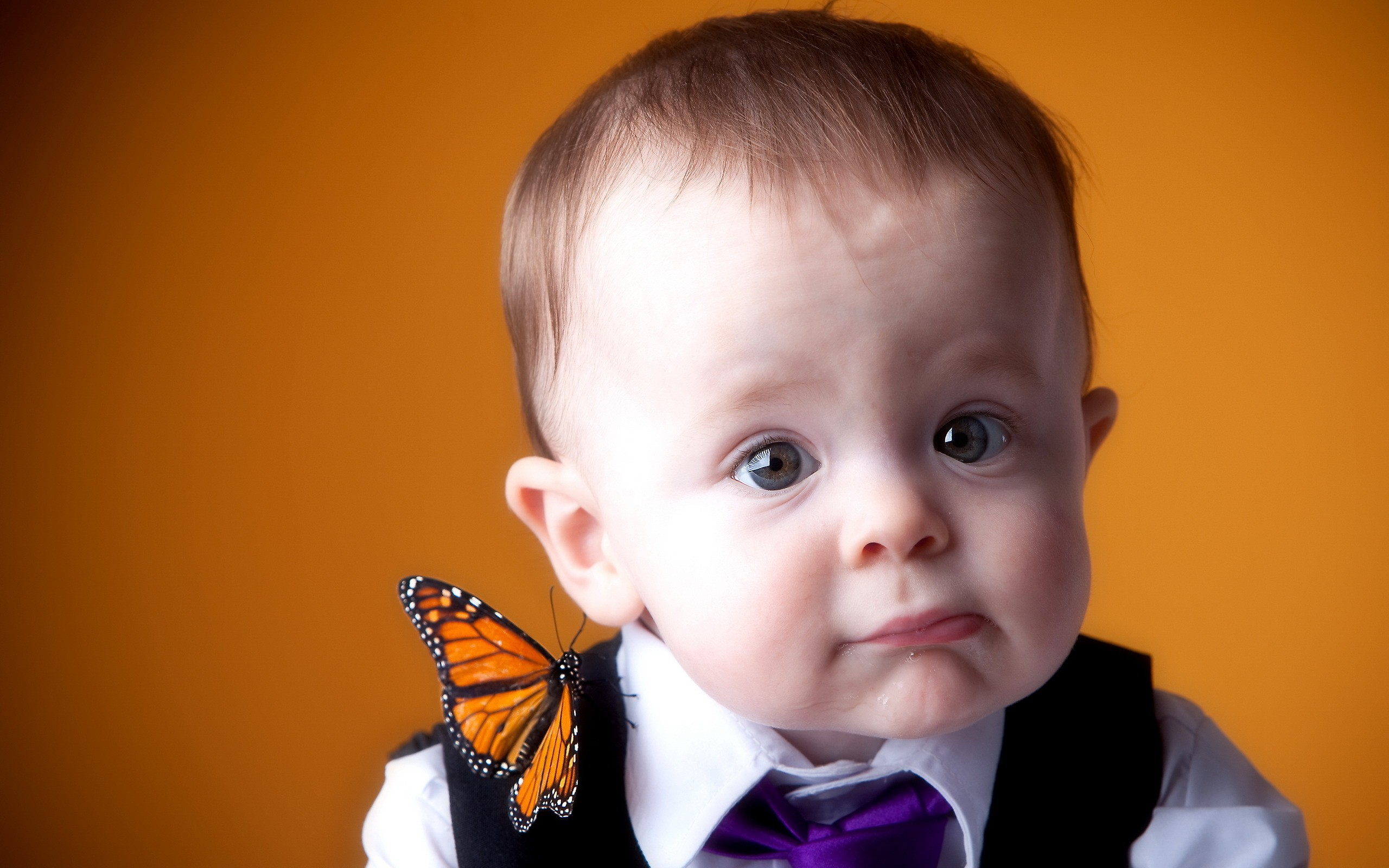 an orange butterfly on the shoulder of cute baby wallpaper download