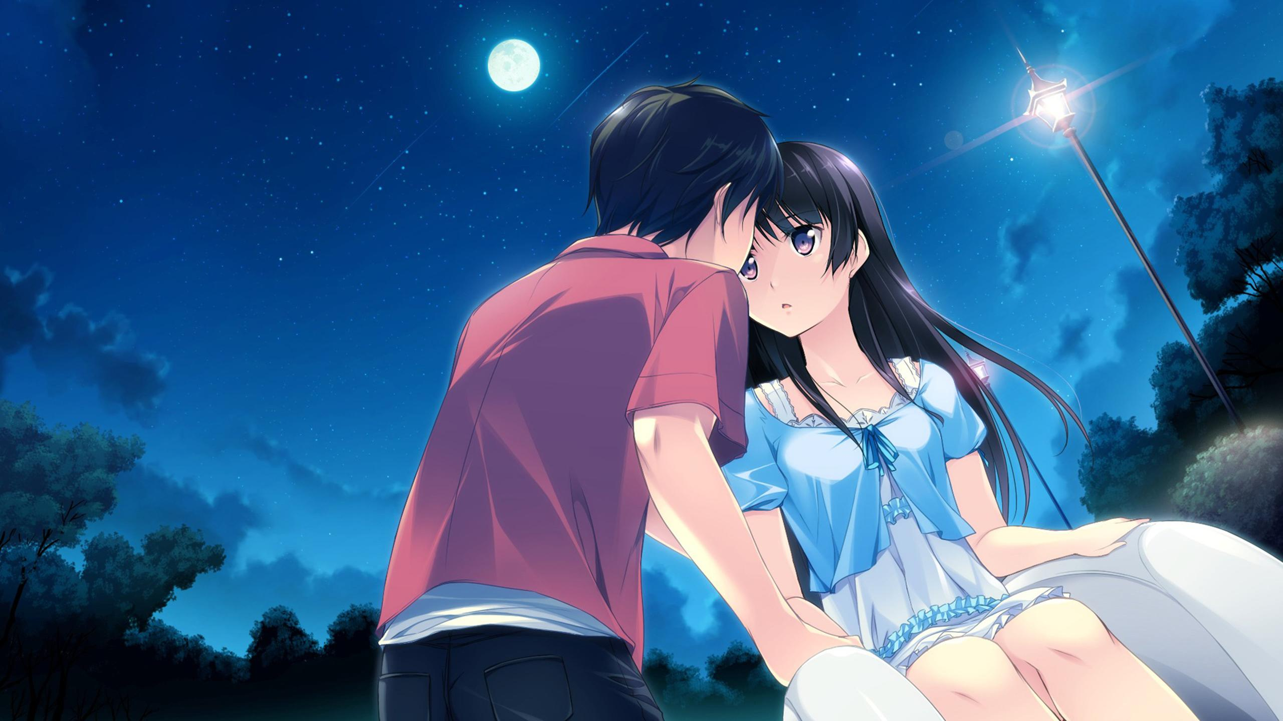 anime couple during the night under the moonlight wallpaper download