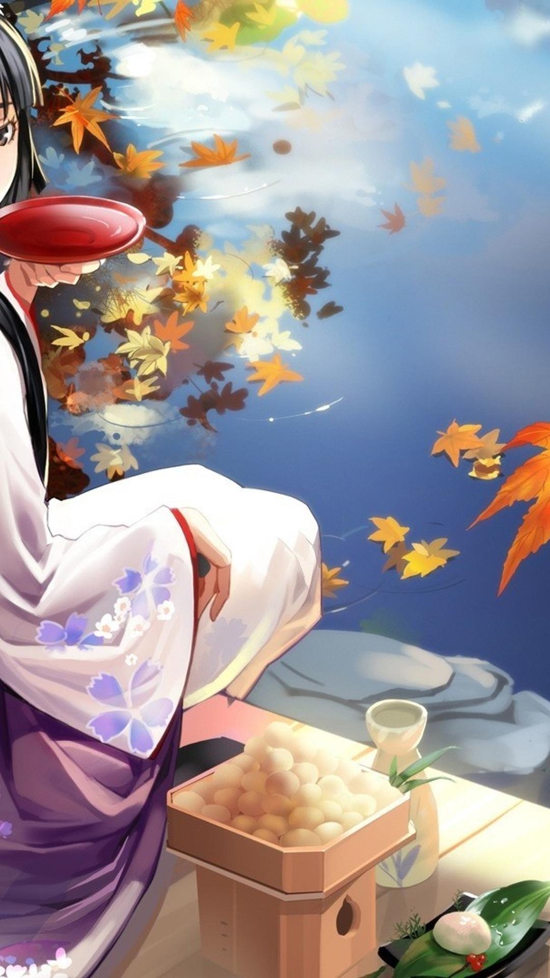 Download Wallpaper 1080x1920 Anime Geisha