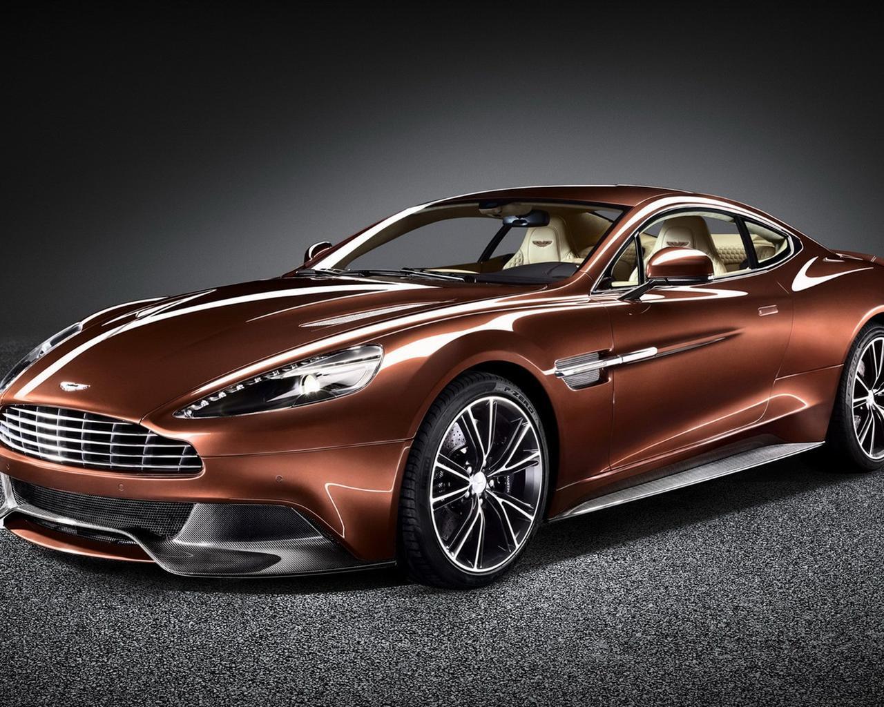 Aston Martin Vanquish Awesome Brown Car Wallpaper Download 1280x1024