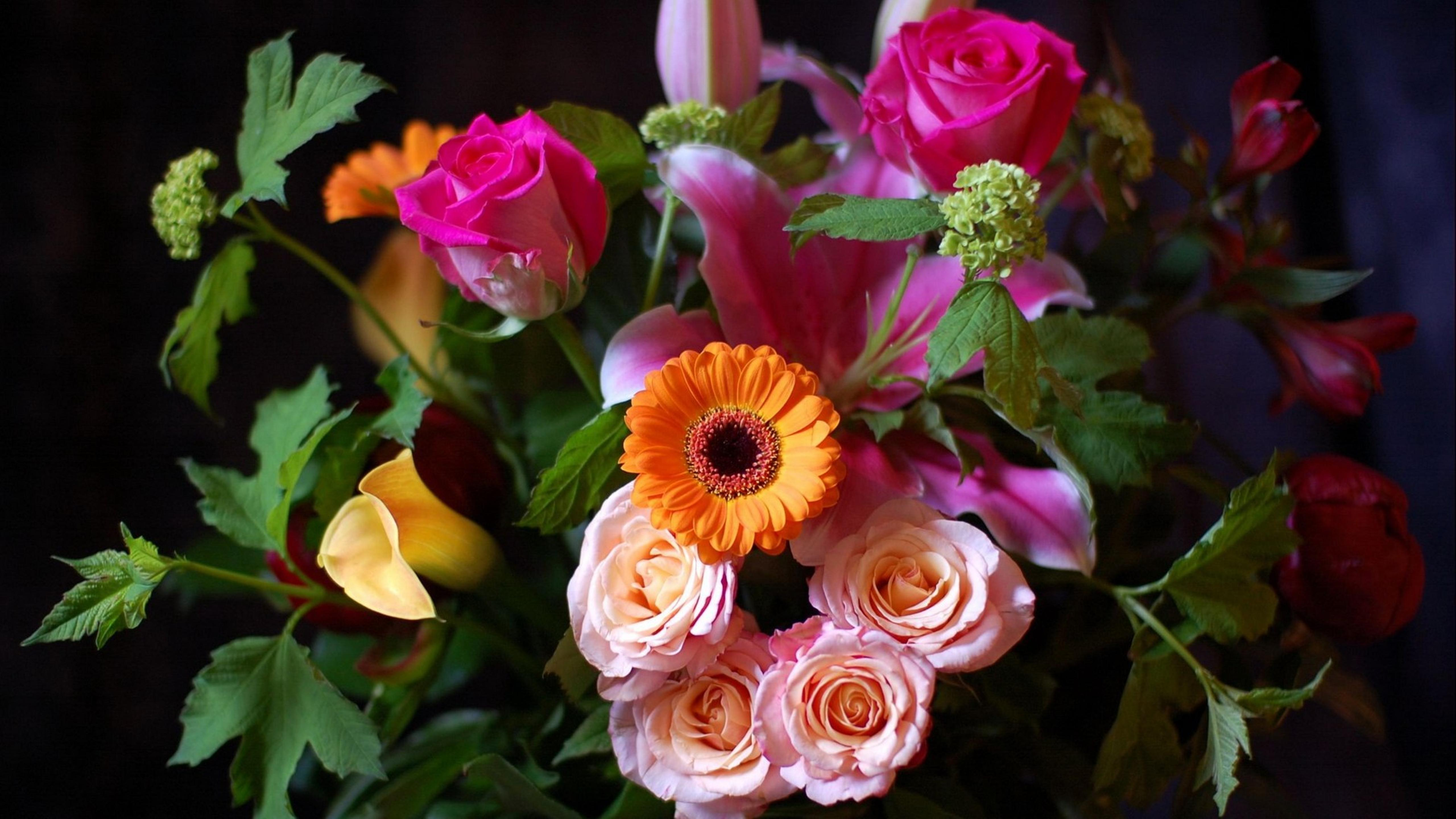 Beautiful Bouquet With Many Colorful Flowers Wallpaper Download 5120x2880