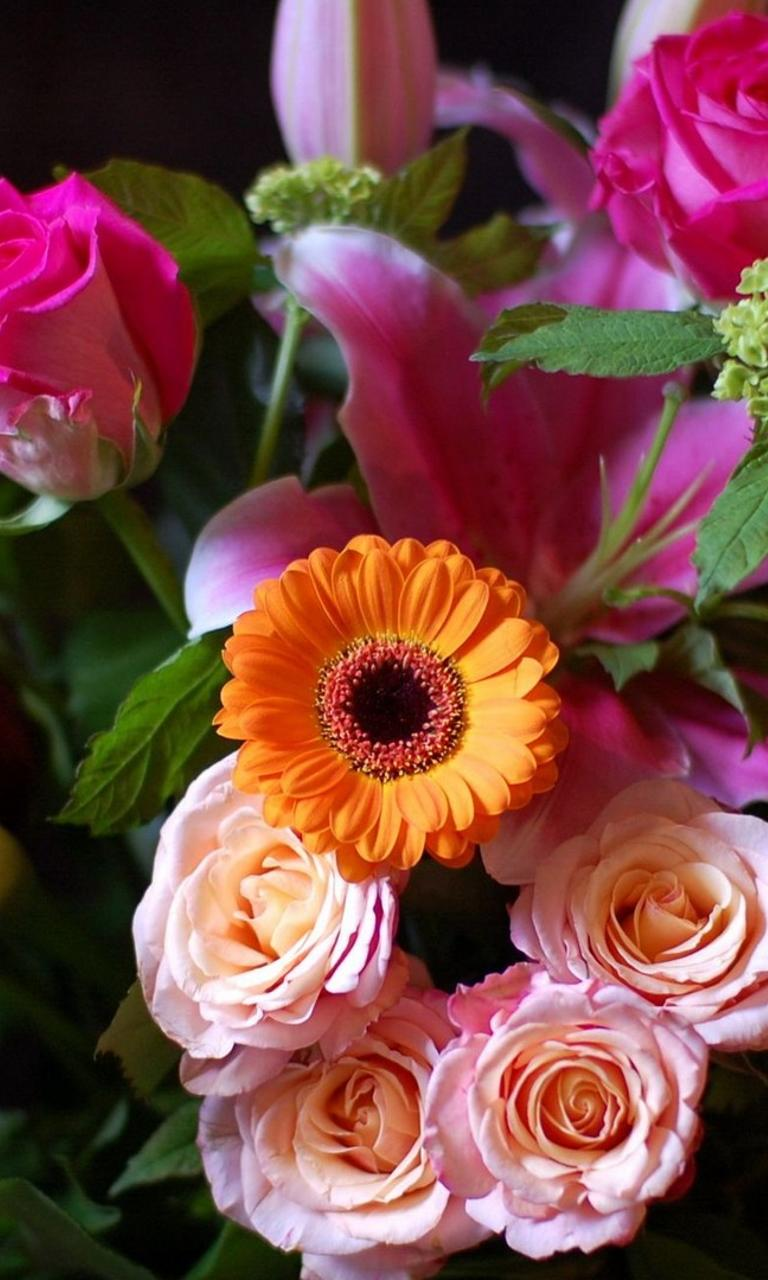 Beautiful Bouquet With Many Colorful Flowers Wallpaper Download 768x1280