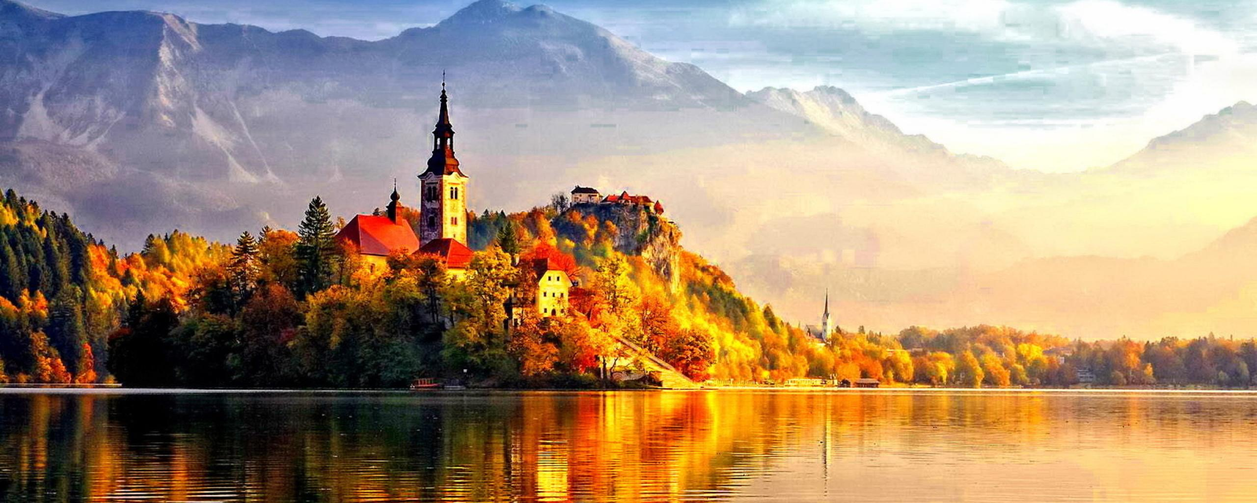 Beautiful castle in the light of autumn sun hd wallpaper for Sun castle