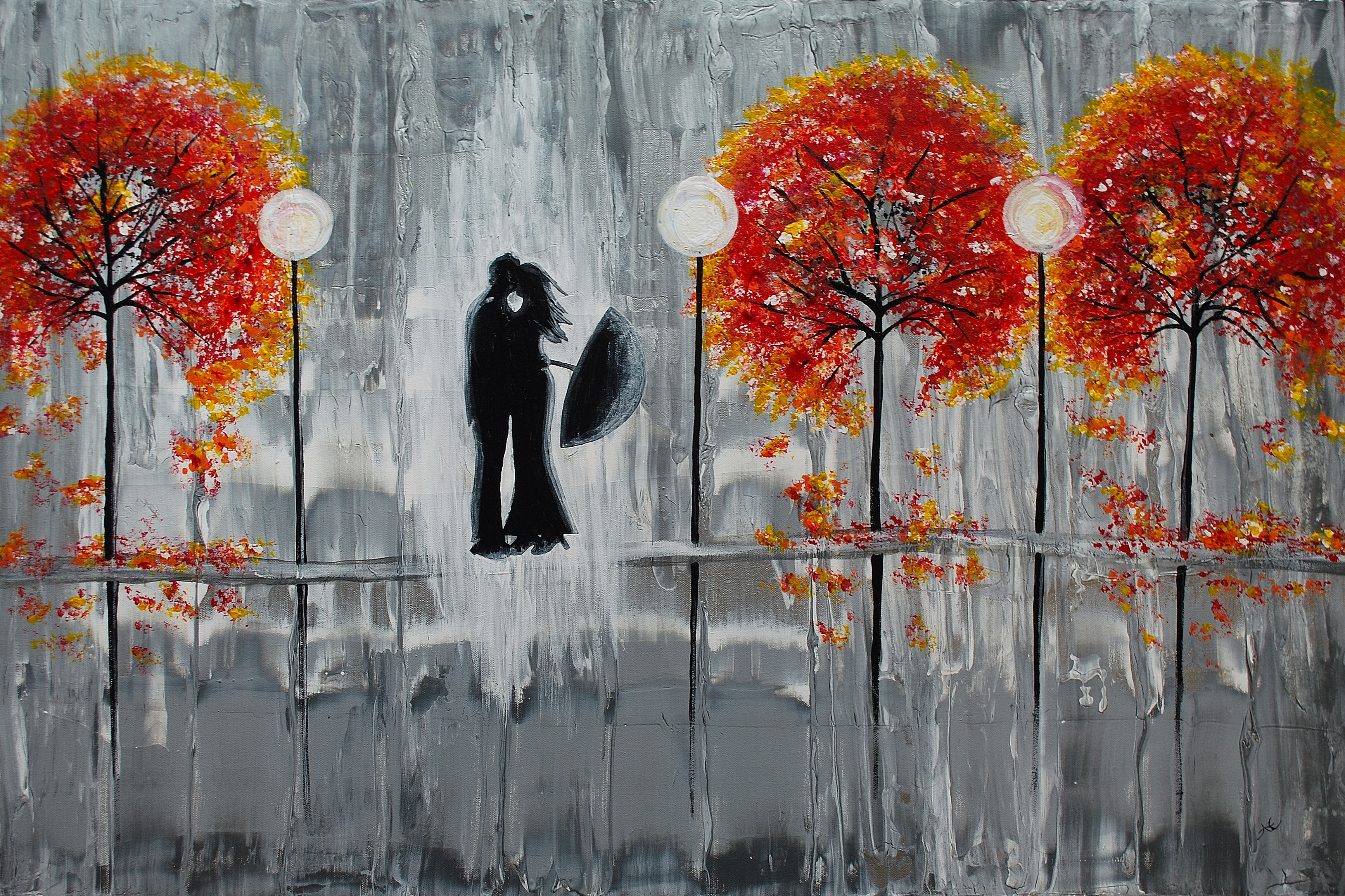 Beautiful Grey Painting Two Lovers In The Rain
