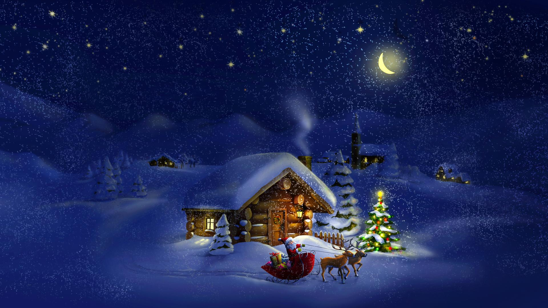 Beautiful Magic Christmas Night Village Waiting For
