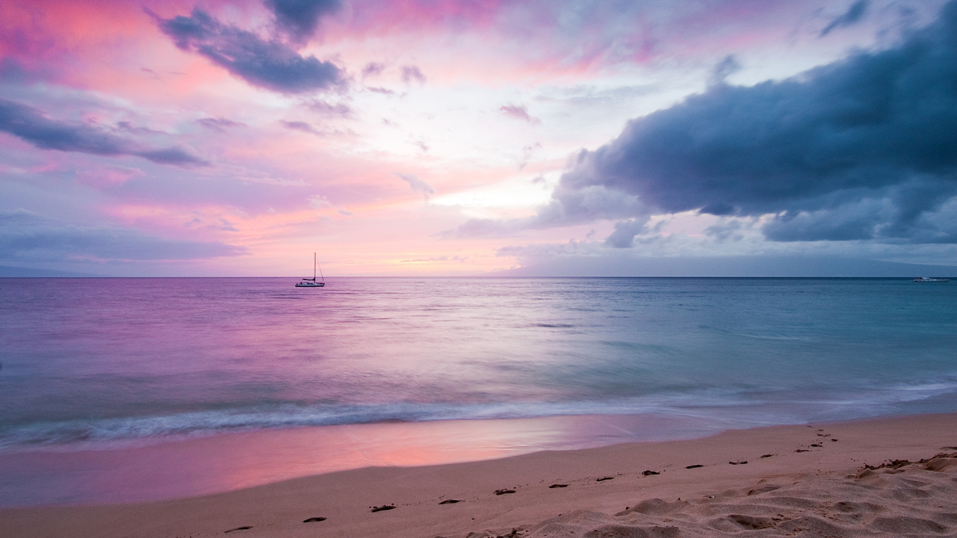 Beautiful Purple Sky Over The Sea Sunset Wallpaper
