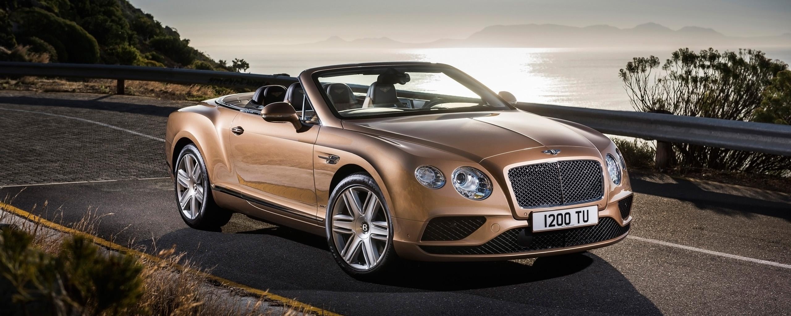 Download Wallpaper 2560x1024 Bentley continental gt convertible 2015