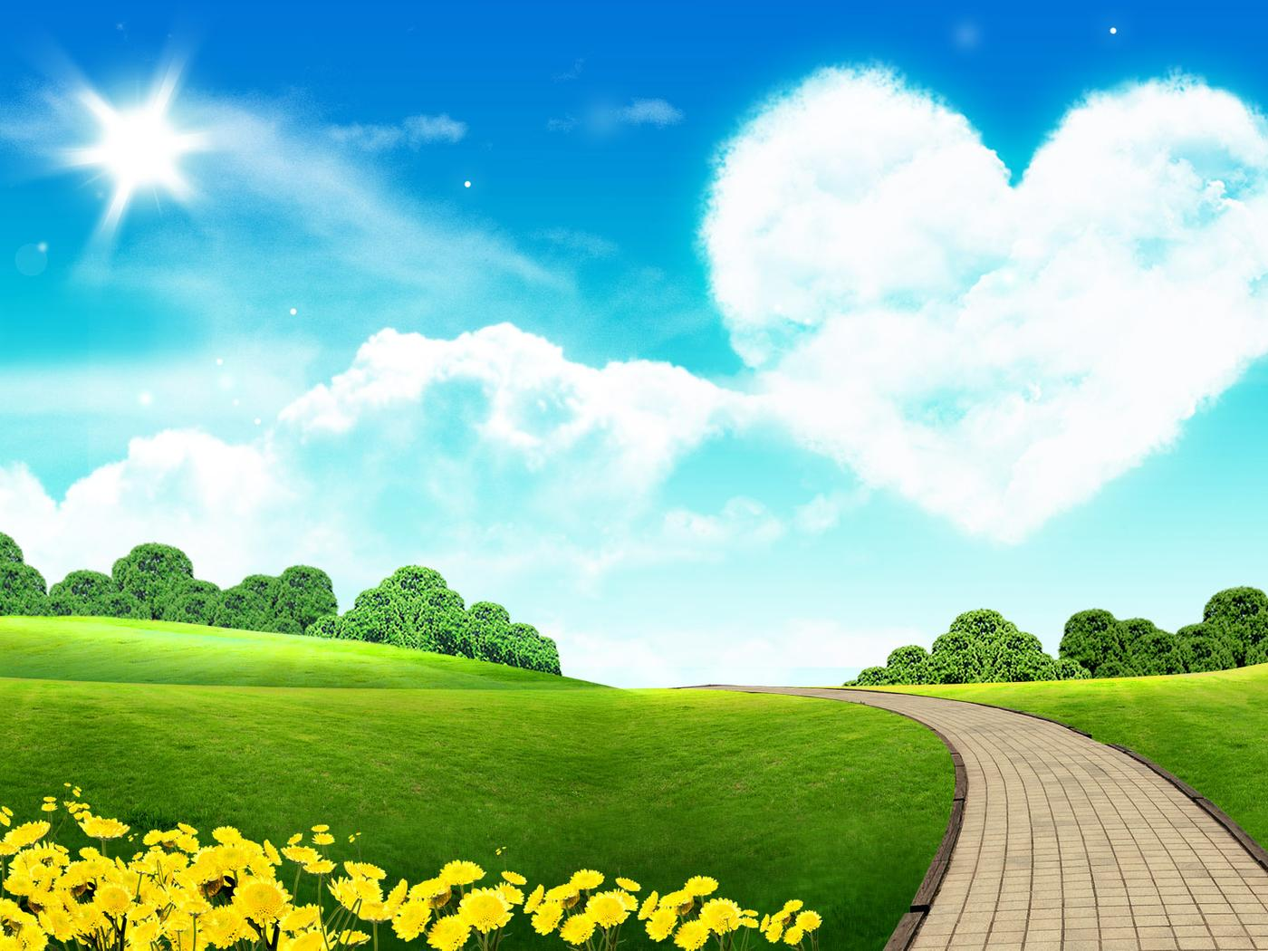 big heart on the sky - beautiful nature landscape wallpaper download