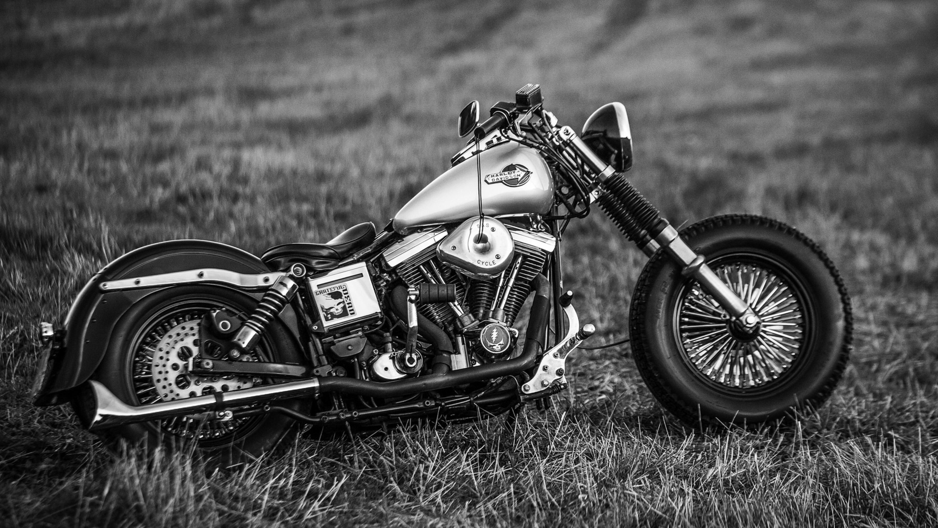 black and white harley davidson motorcycle wallpaper download 3840x2160