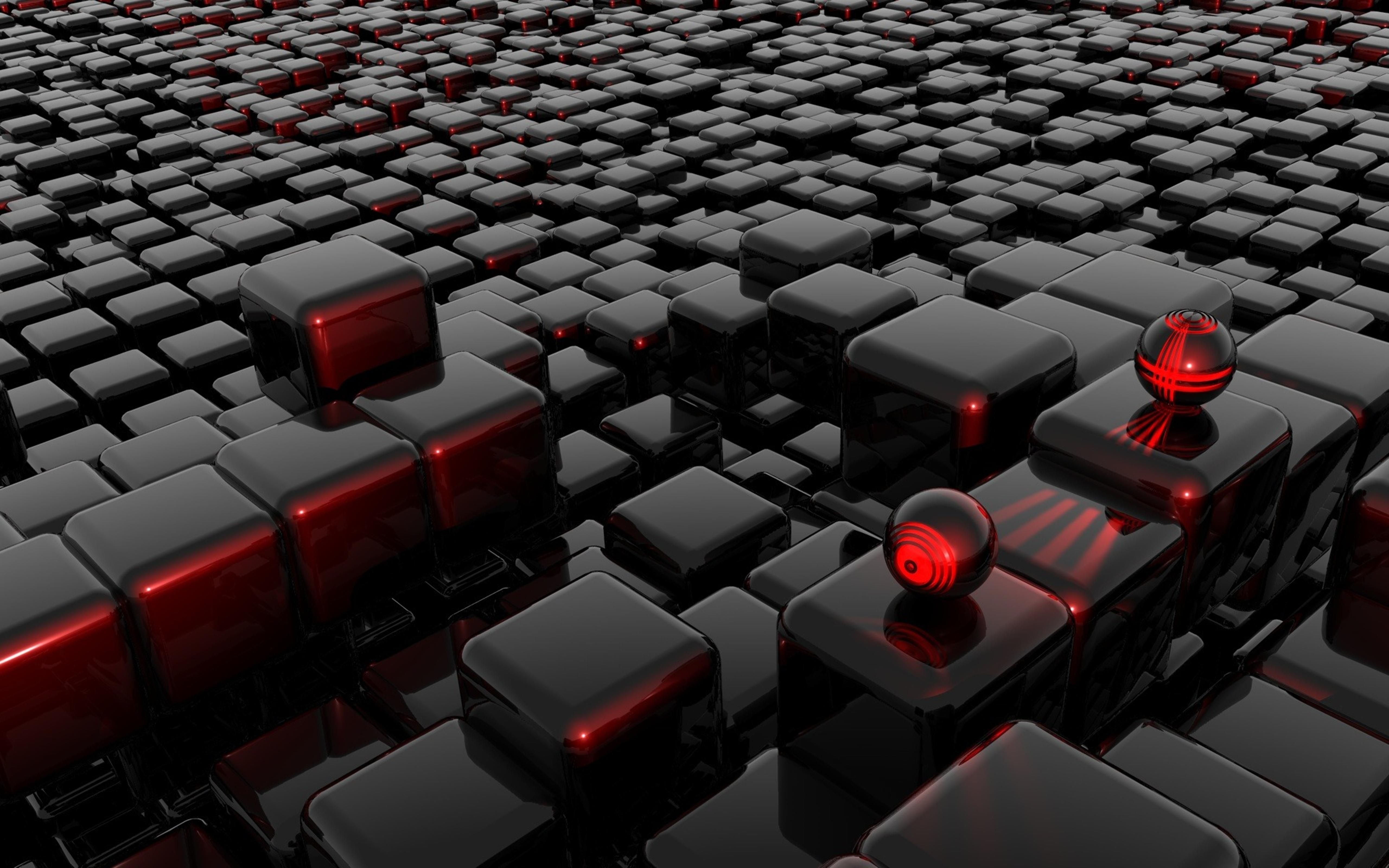 Black cubes with red edges and two sphere Wallpaper ...