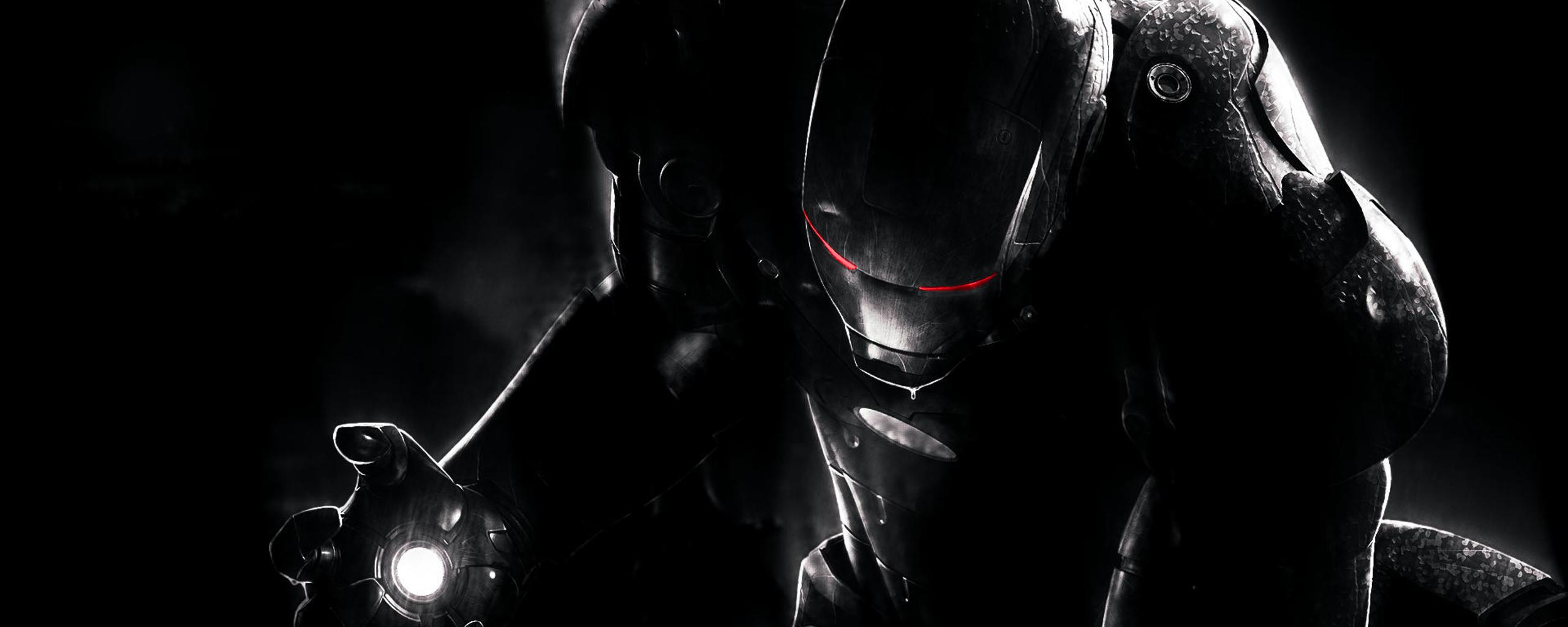 Download Wallpaper 2560x1024 Black Iron Man with red eyes