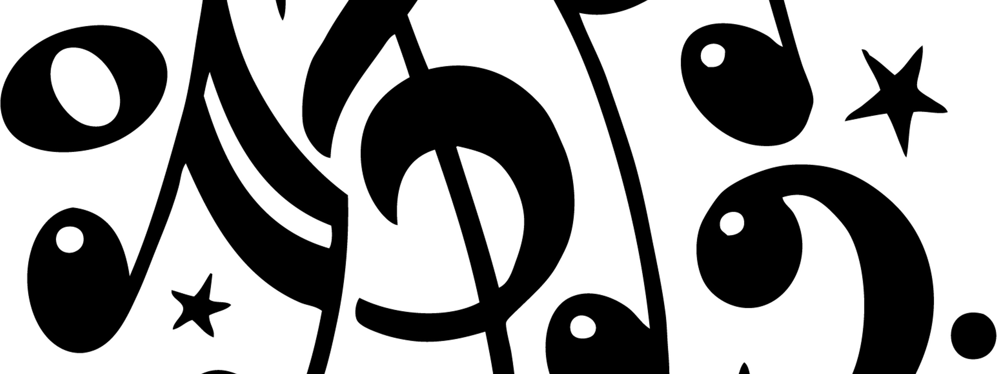 Download Wallpaper 3200x1200 Black Musical Notes And Sol Key On White Background
