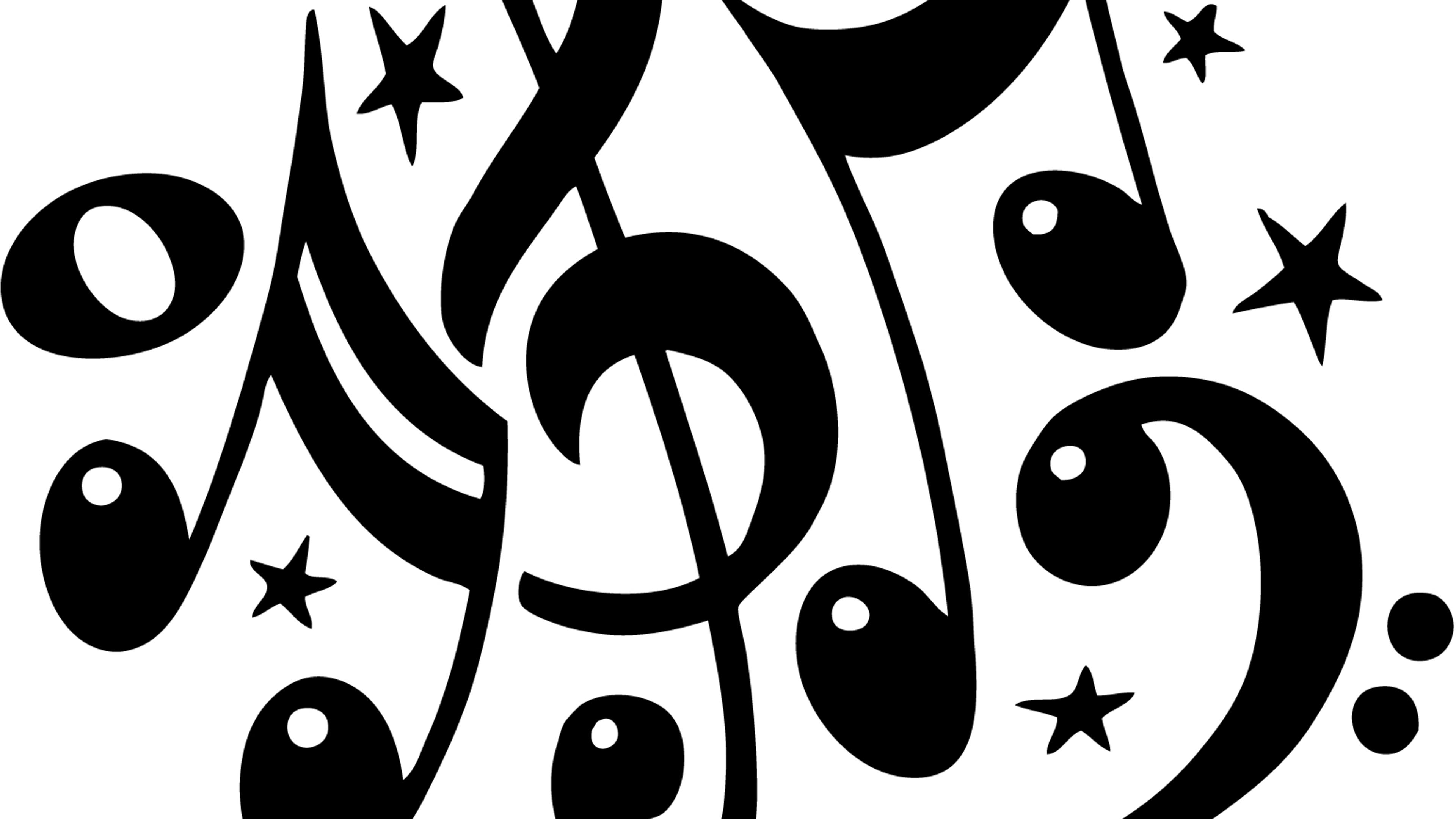 Black Musical Notes And Sol Key On White Background Wallpaper Download 3840x2160
